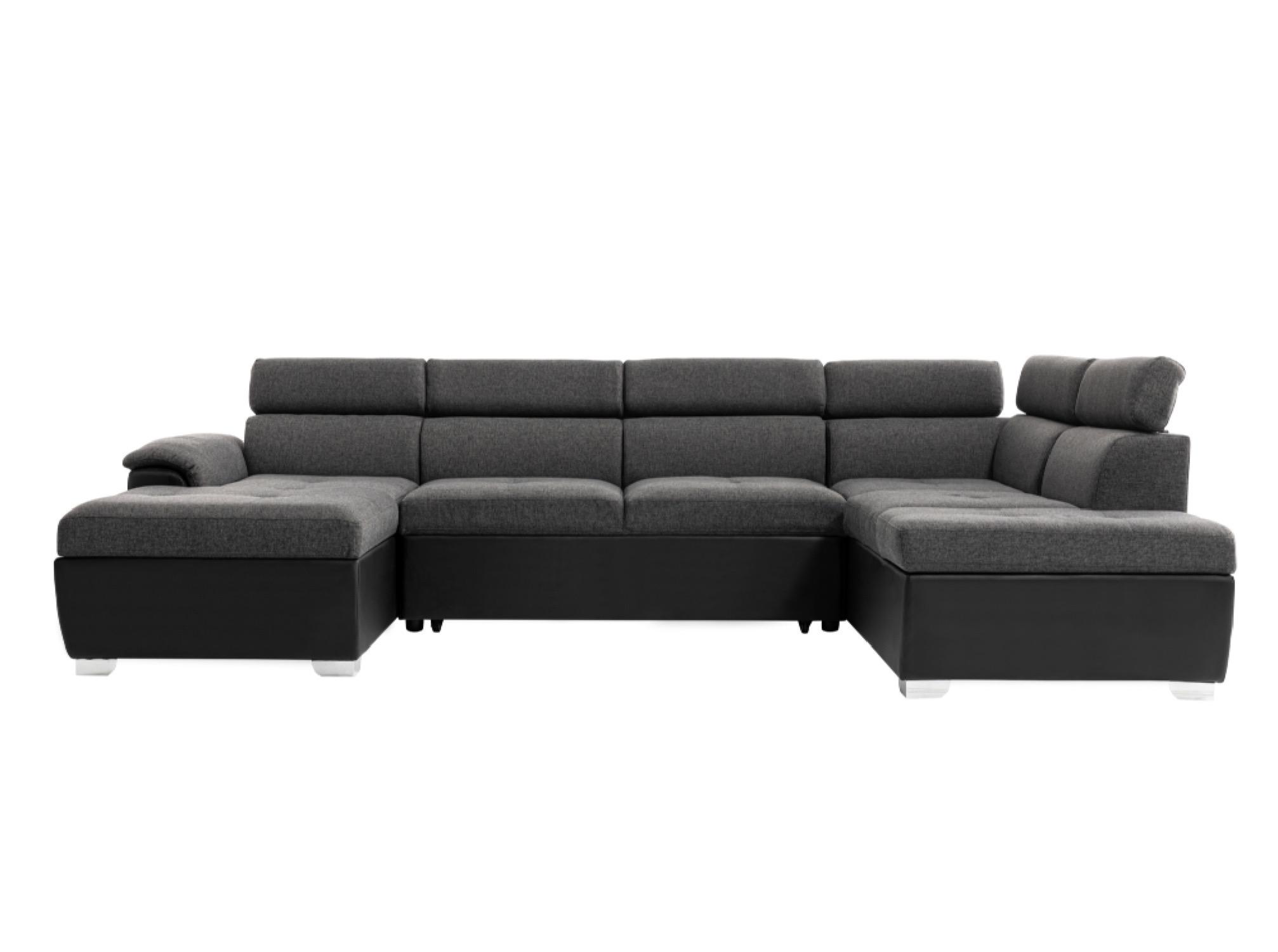Canapé panoramique convertible avec coffre de rangement noir/gris
