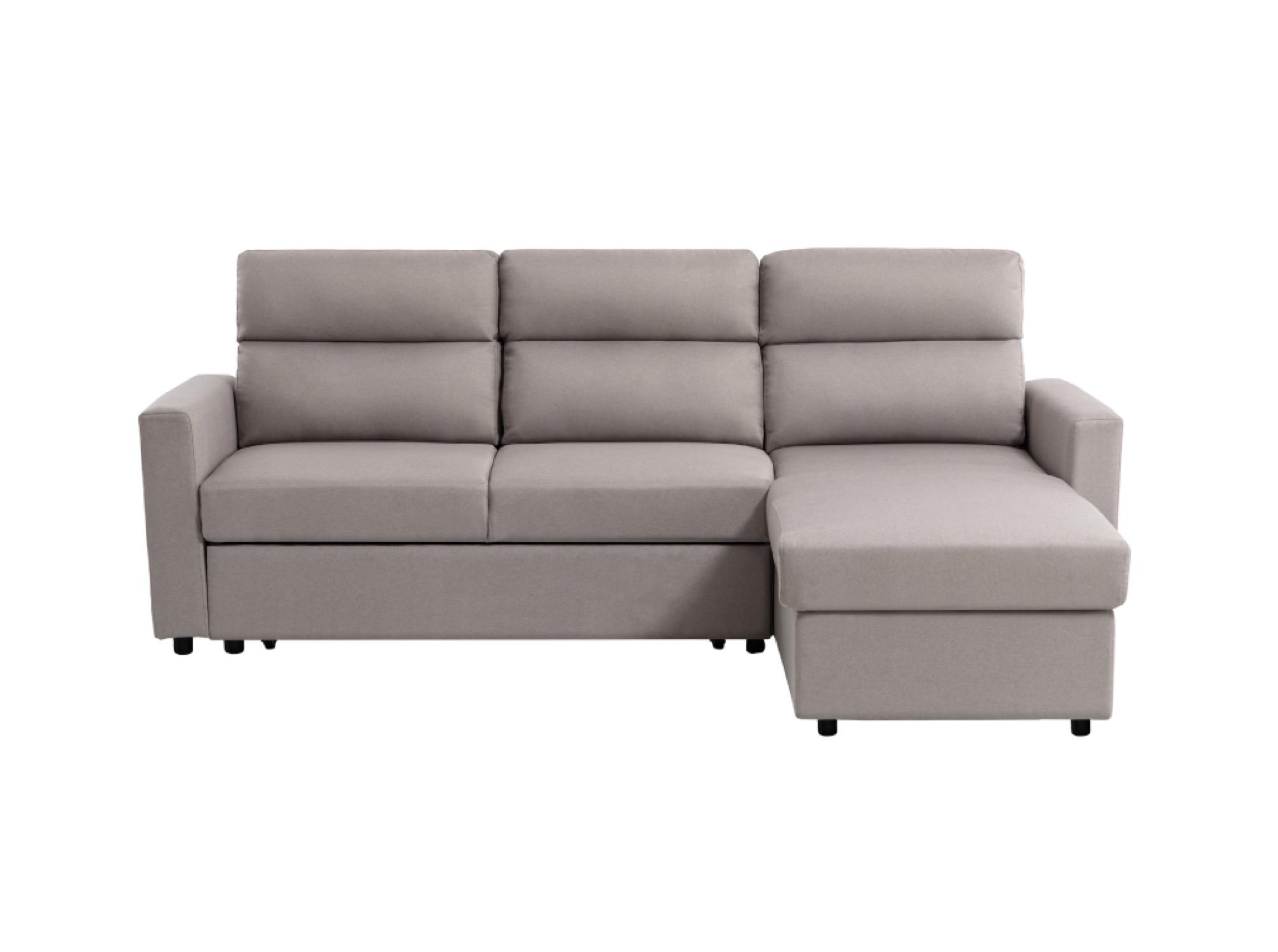 Canapé d'angle Beige Tissu Contemporain Confort