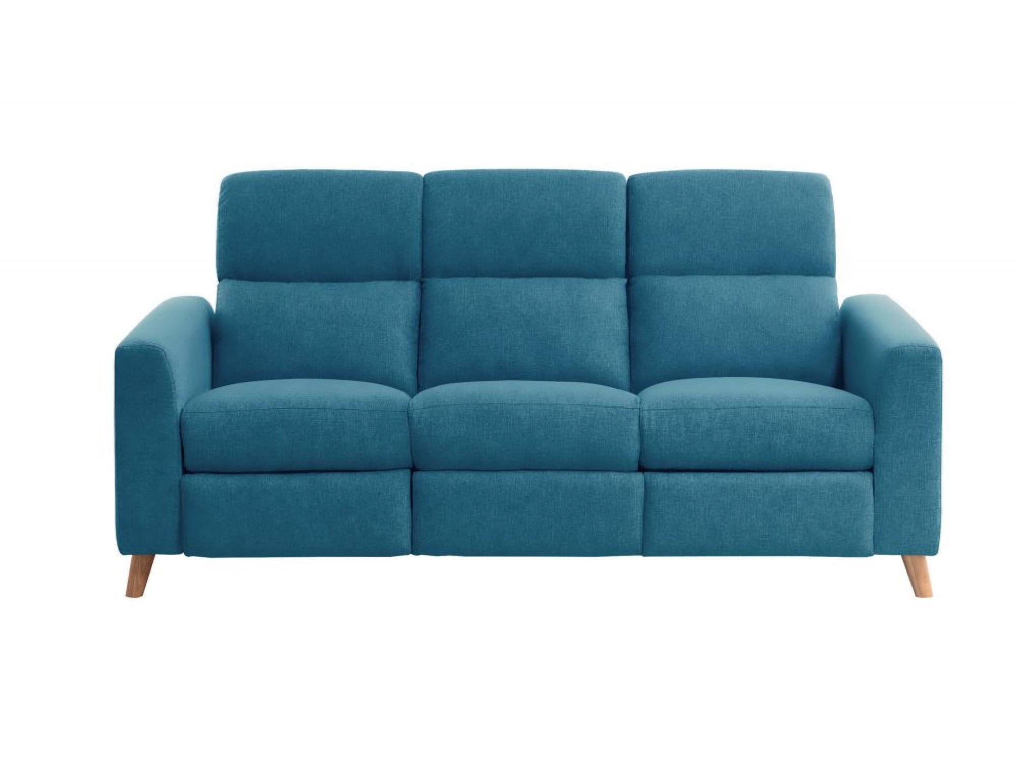 Canapé d'angle bleu de relaxation électrique 3 places