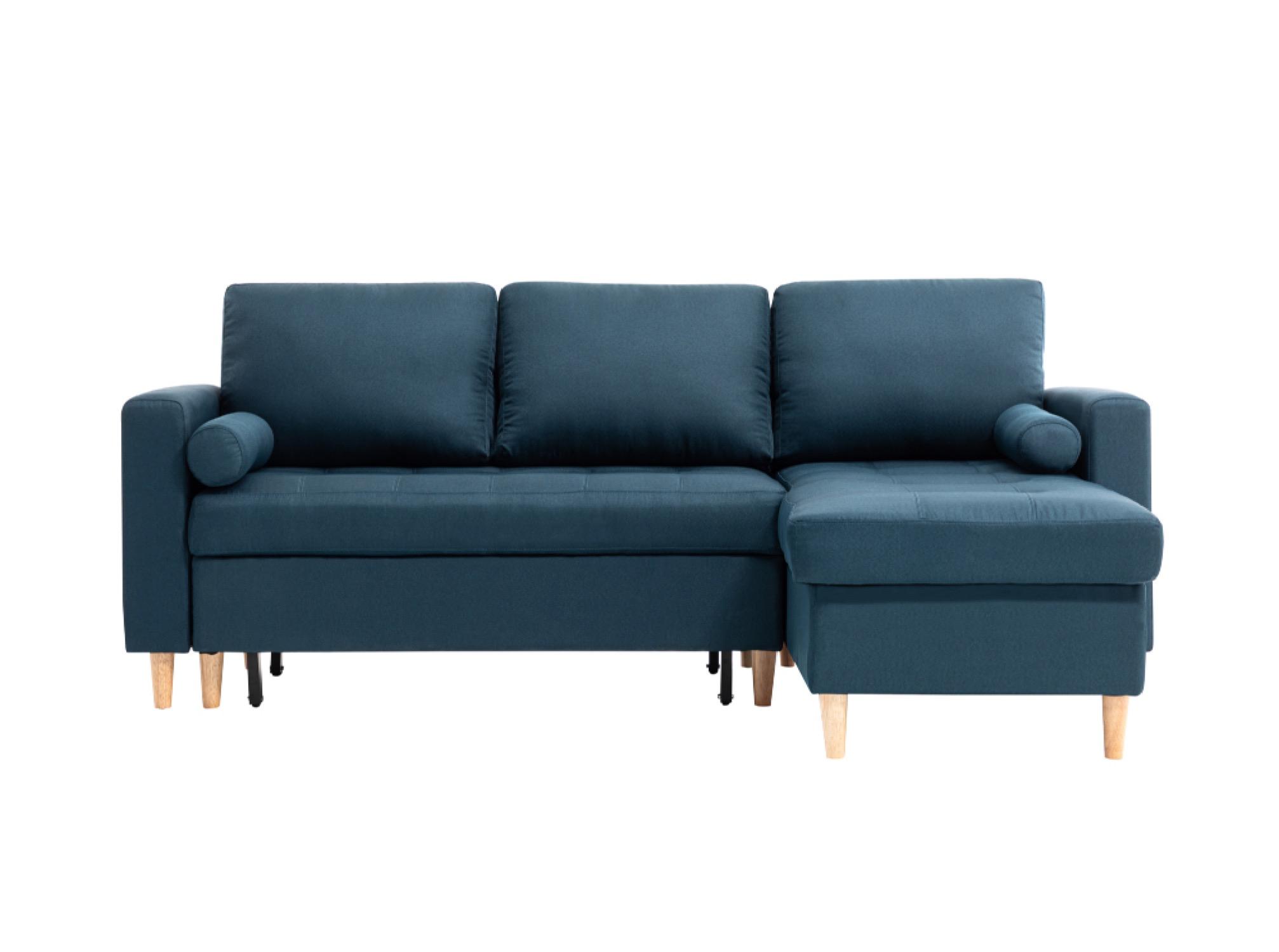 Canapé d'angle 4 places Bleu Tissu Scandinave Confort