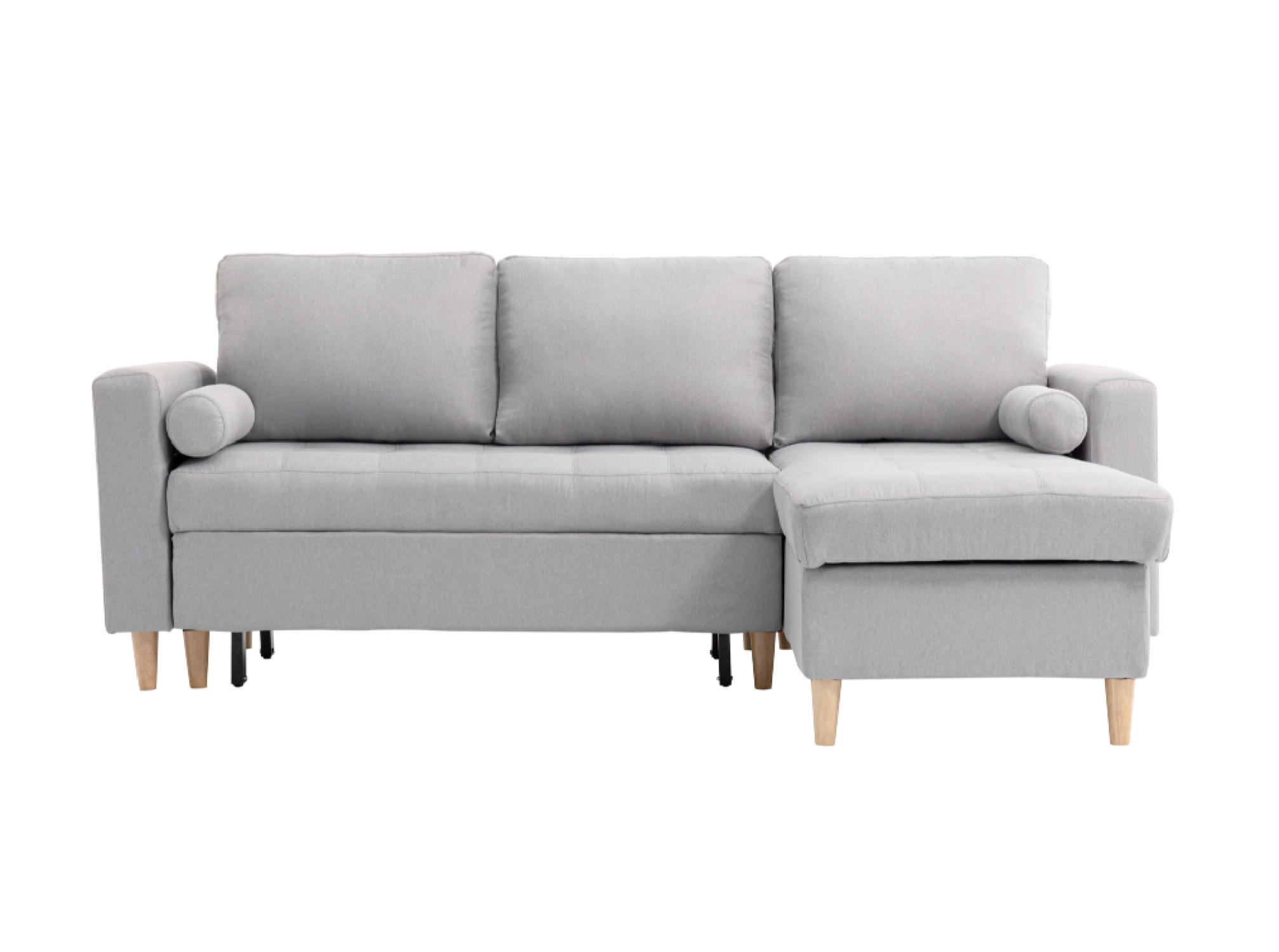 Canapé d'angle scandi réversible et convertible en tissu gris clair