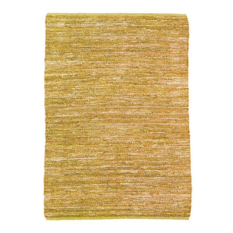 Tapis en cuir tressé jaune 190x290