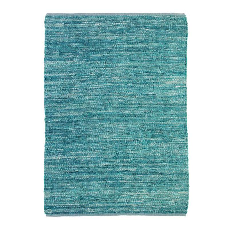 Tapis en cuir tressé bleu clair 120x170