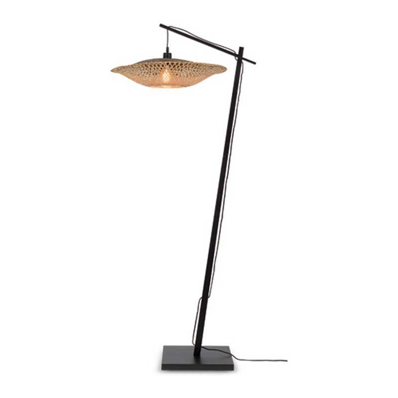 Lampadaire en bambou noir suspendu H176cm