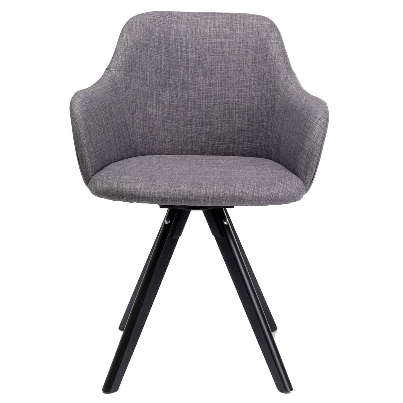 Chaise avec accoudoirs pivotante Lady grise pieds noirs Kare Design