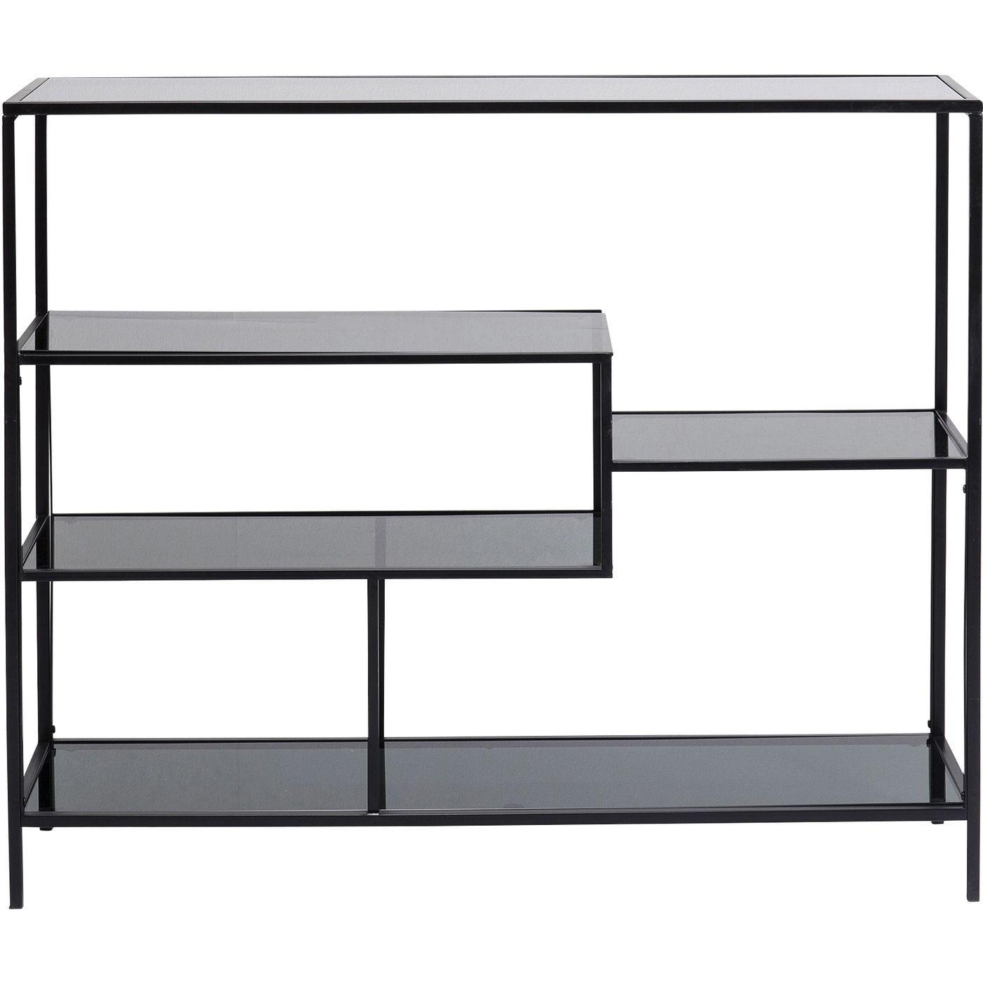 Etagère 100x115 en acier noir et verre teint