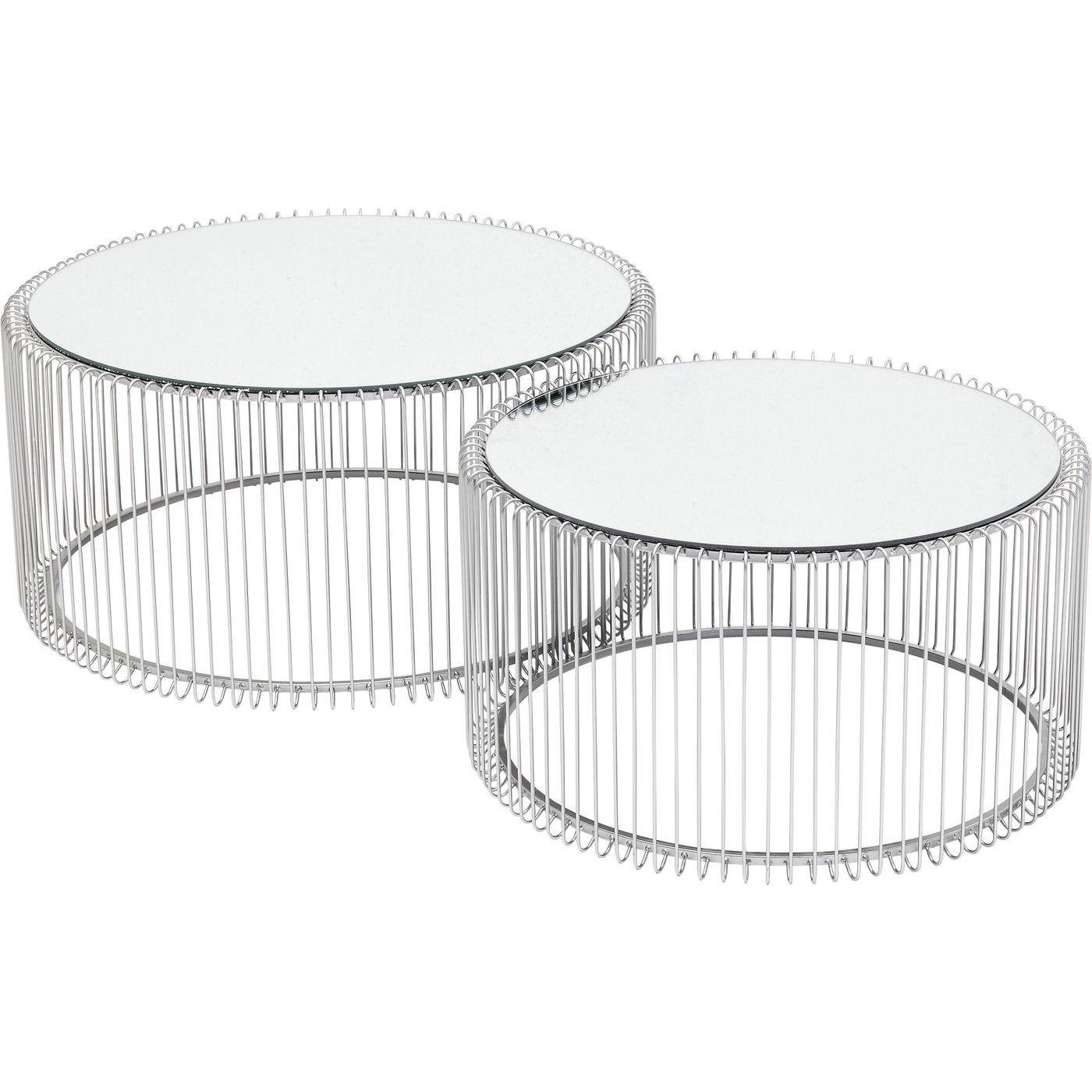 2 tables basses rondes en acier argenté et verre miroir
