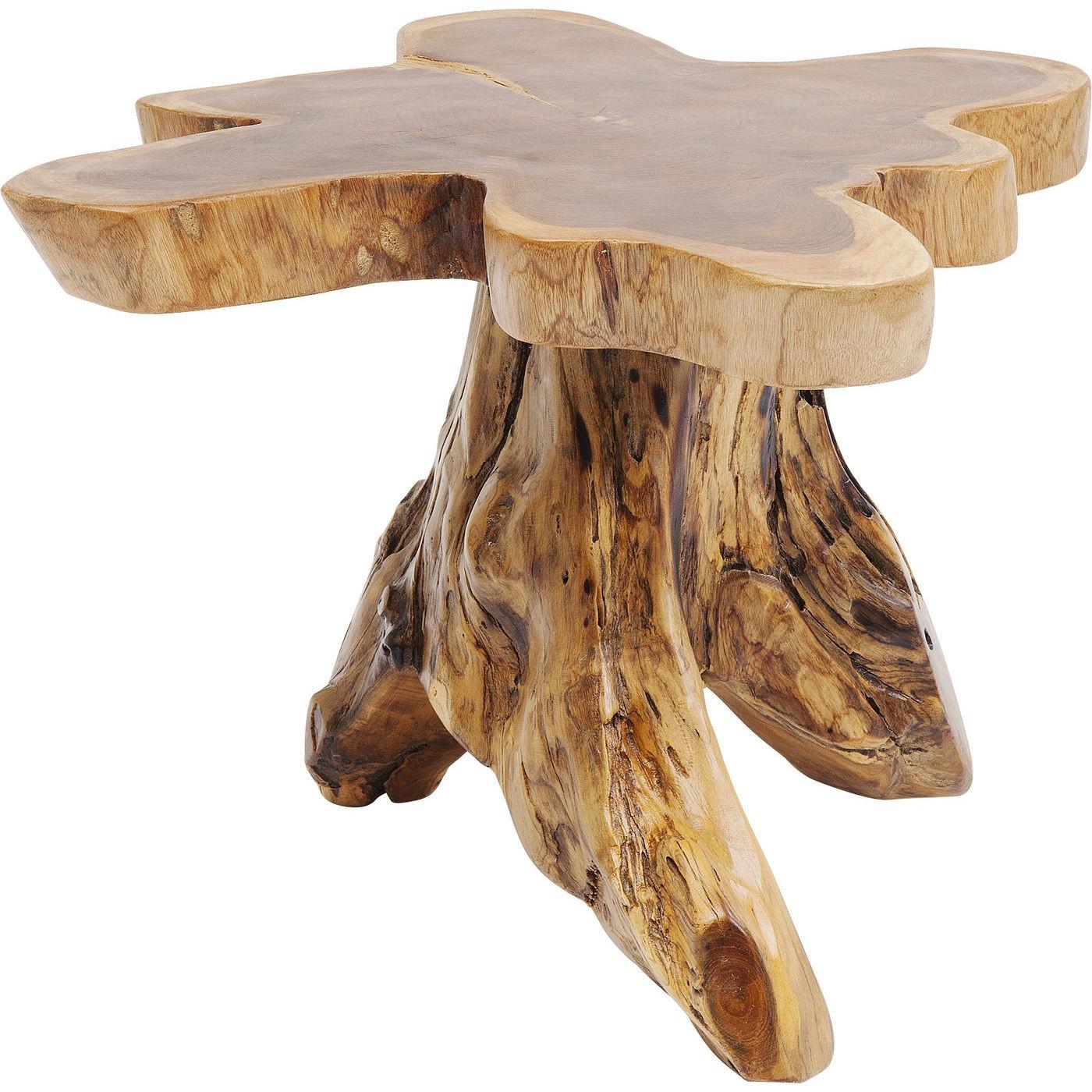 Table basse souche d'arbre en teck massif