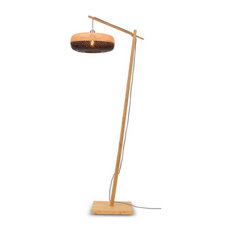 Lampadaire en bambou noir H176cm