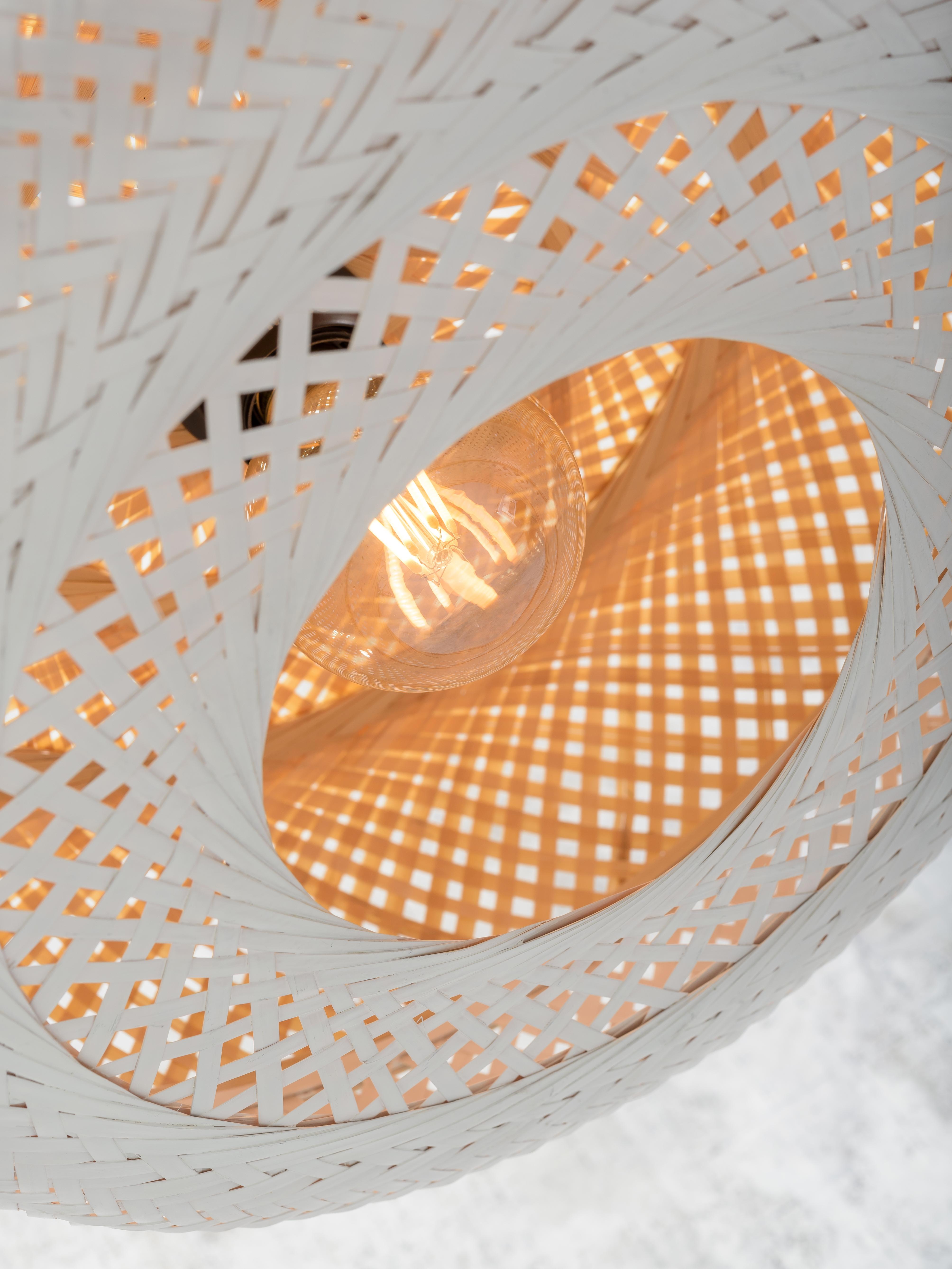 Lampadaire bambou blanc H176cm