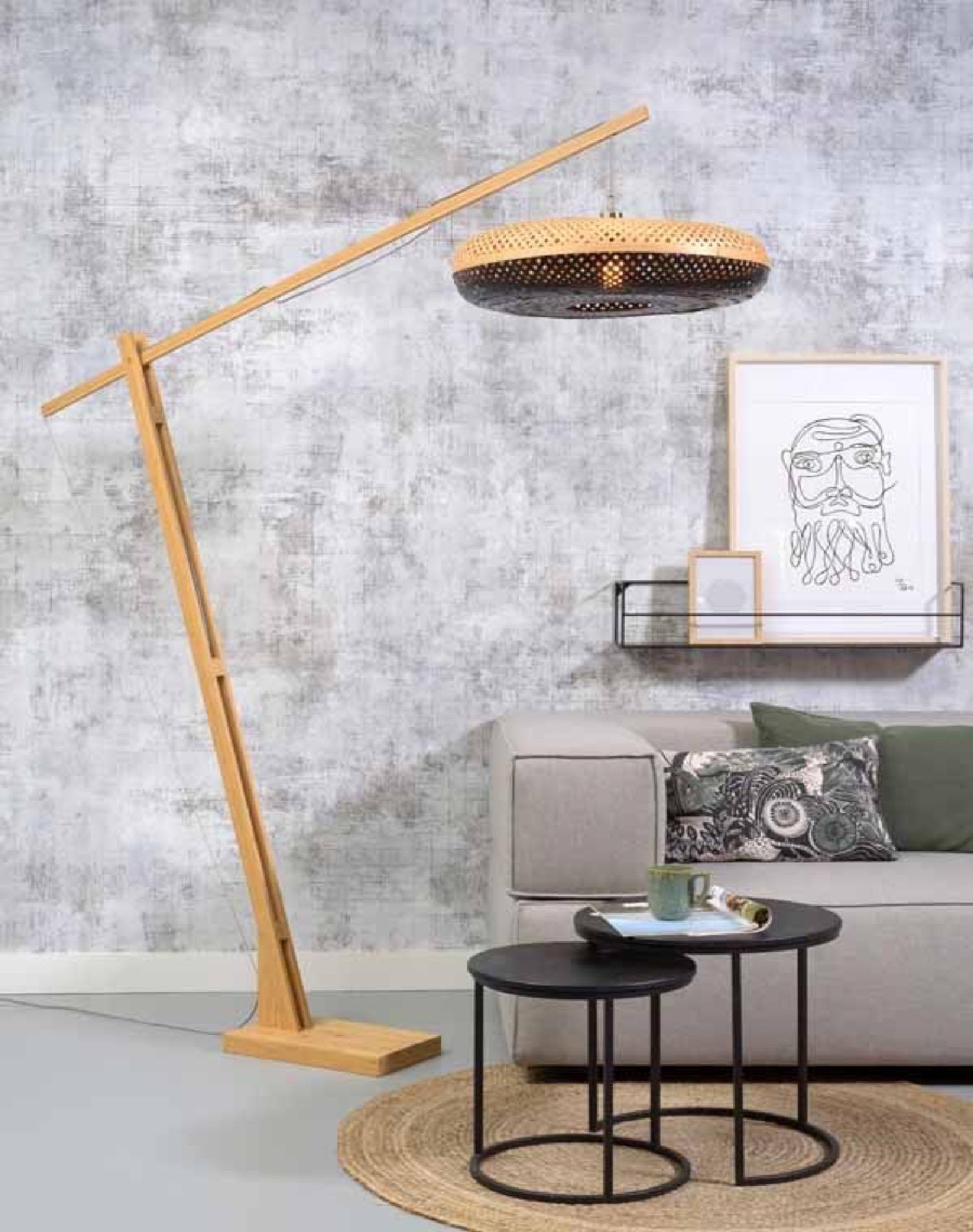 Lampadaire en bambou noir H207cm