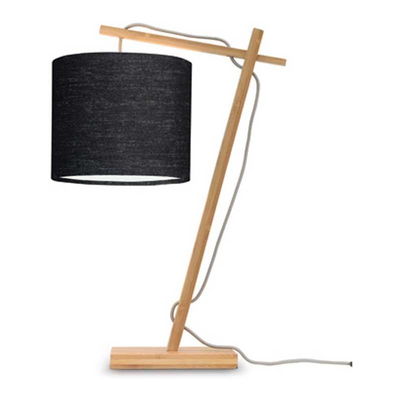 Lampe de table bambou/lin noir H46cm