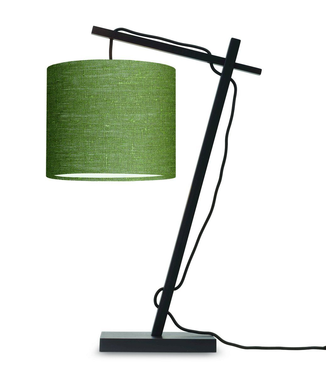 Lampe de table bambou noir/lin H46cm
