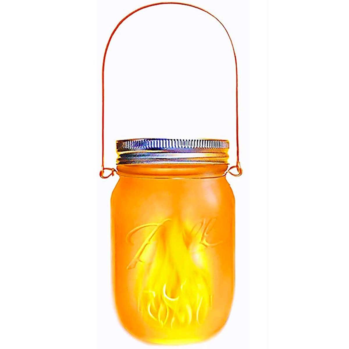 JAMY FLAME-Lanterne solaire verre transparent H14cm