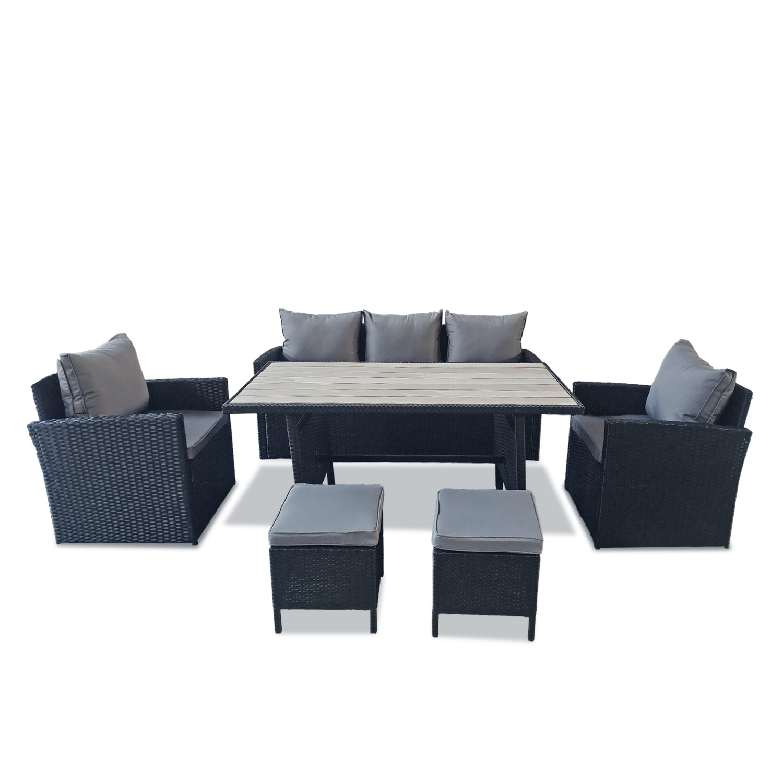 Salon de jardin modulable 7 places en résine tressée noire et grise