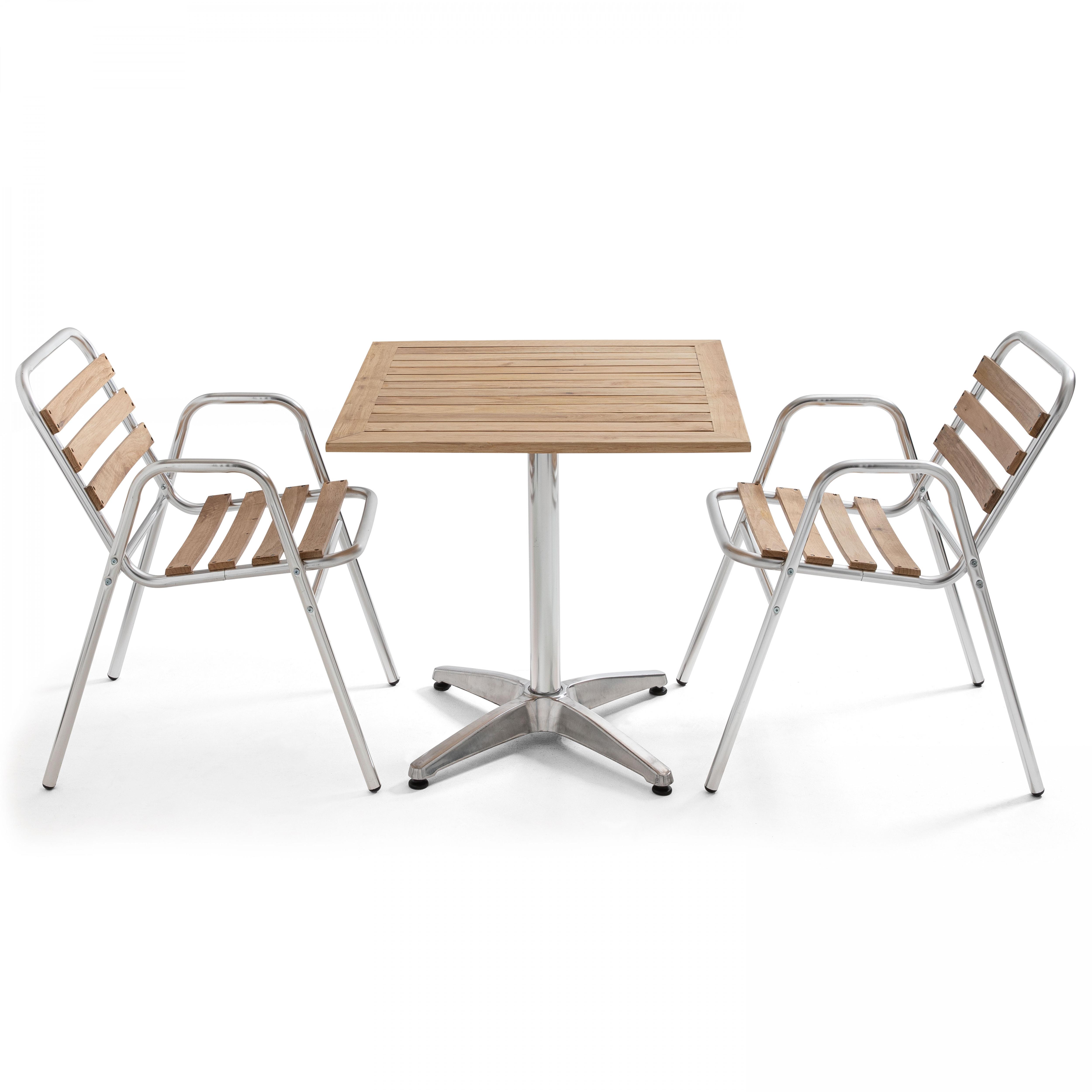 Ensemble terrasse table carrée et 2 chaises en bois et aluminium gris