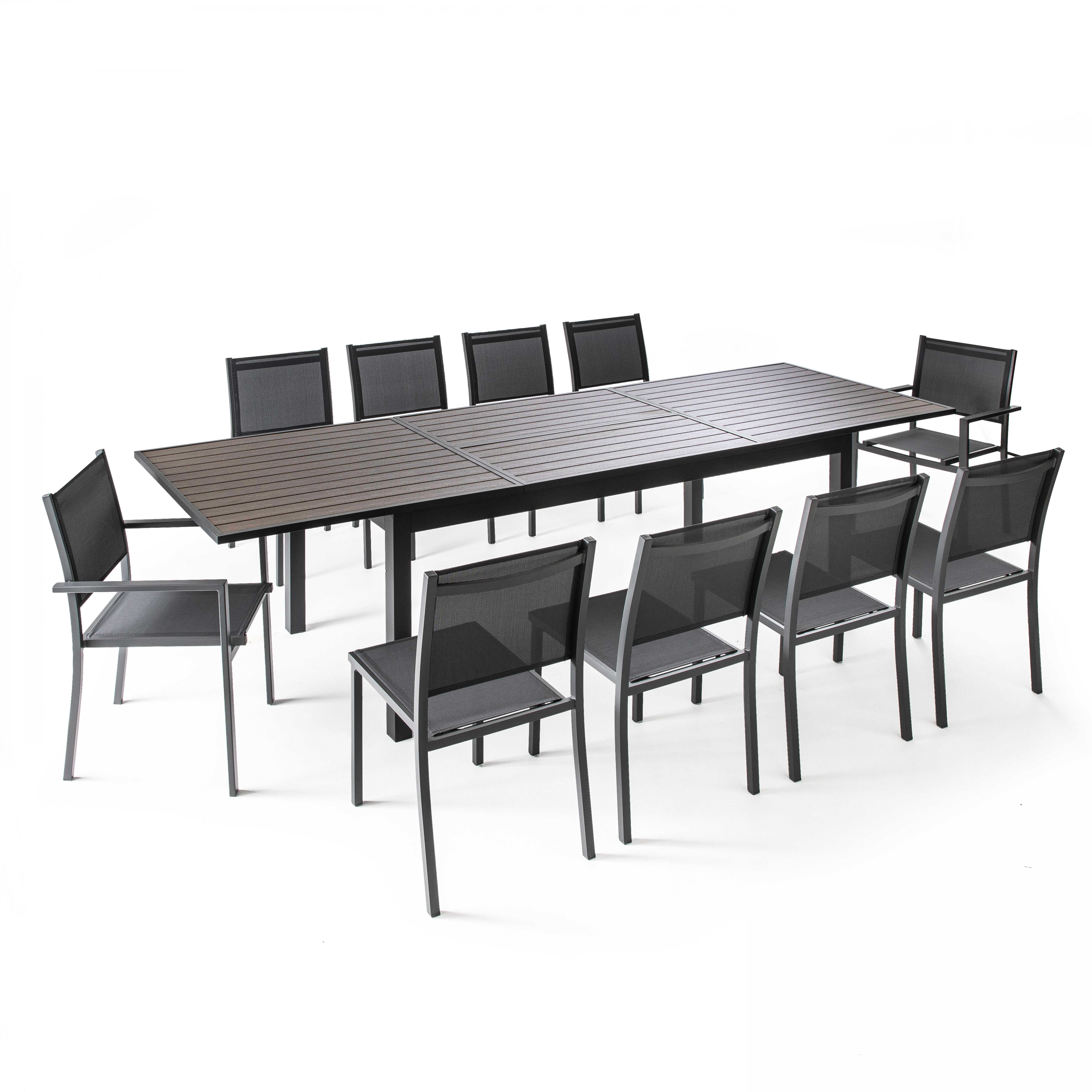 Table de jardin extensible 10 places aluminium et polywood, Nice