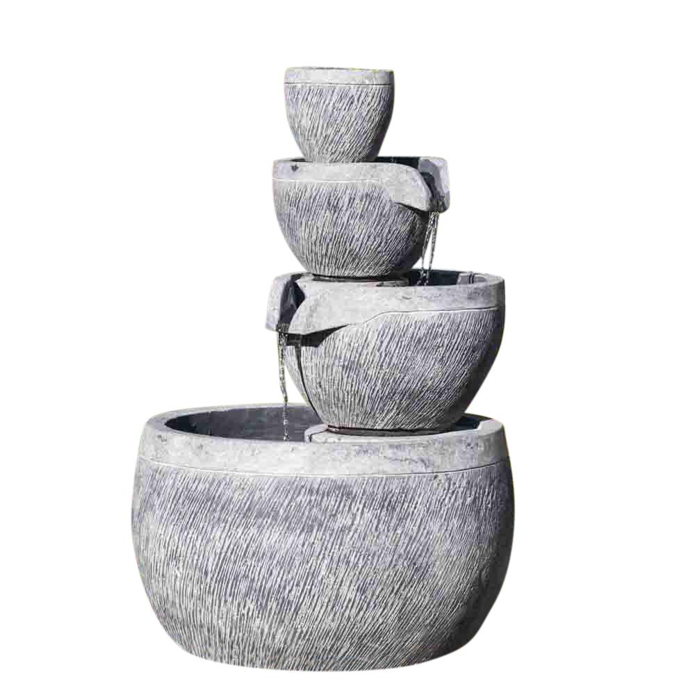 Fontaine ronde 4 coupes noire et grise H110cm