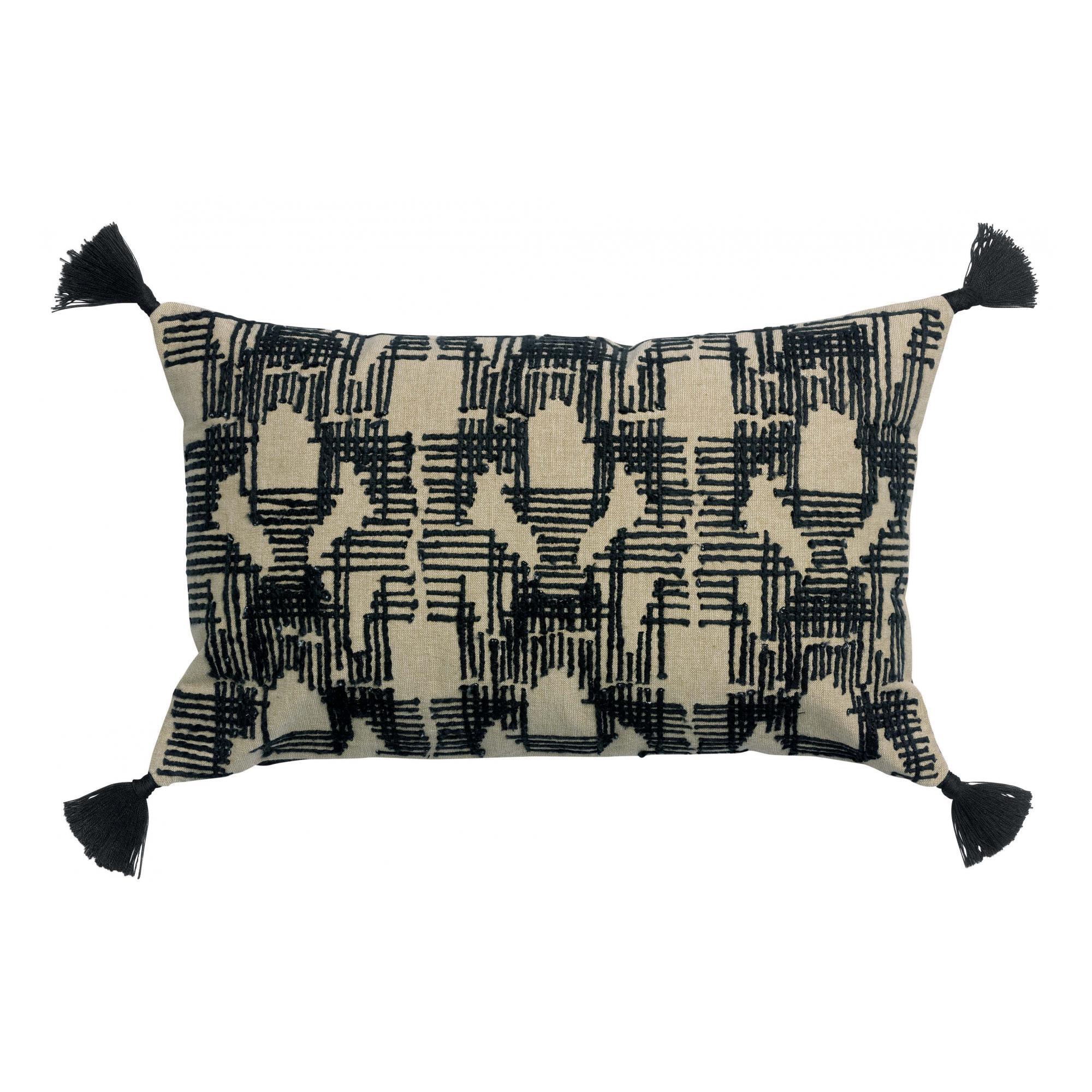 Coussin brodé en coton ombre 40 x 65