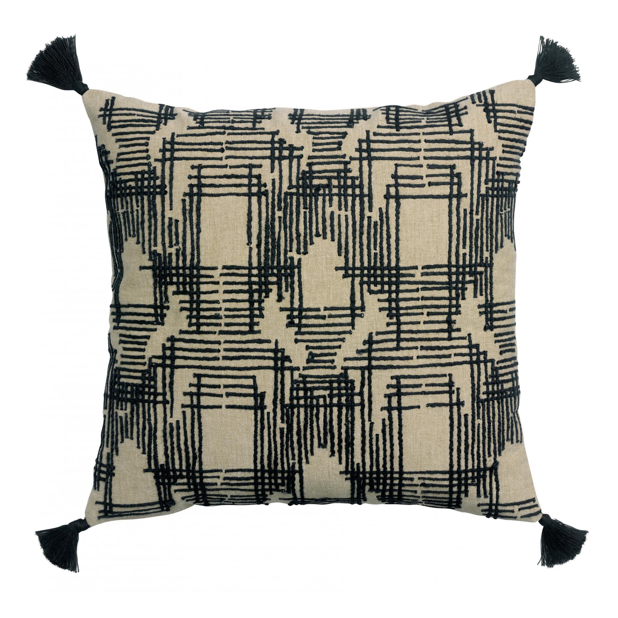 Coussin brodé en coton ombre 45 x 45