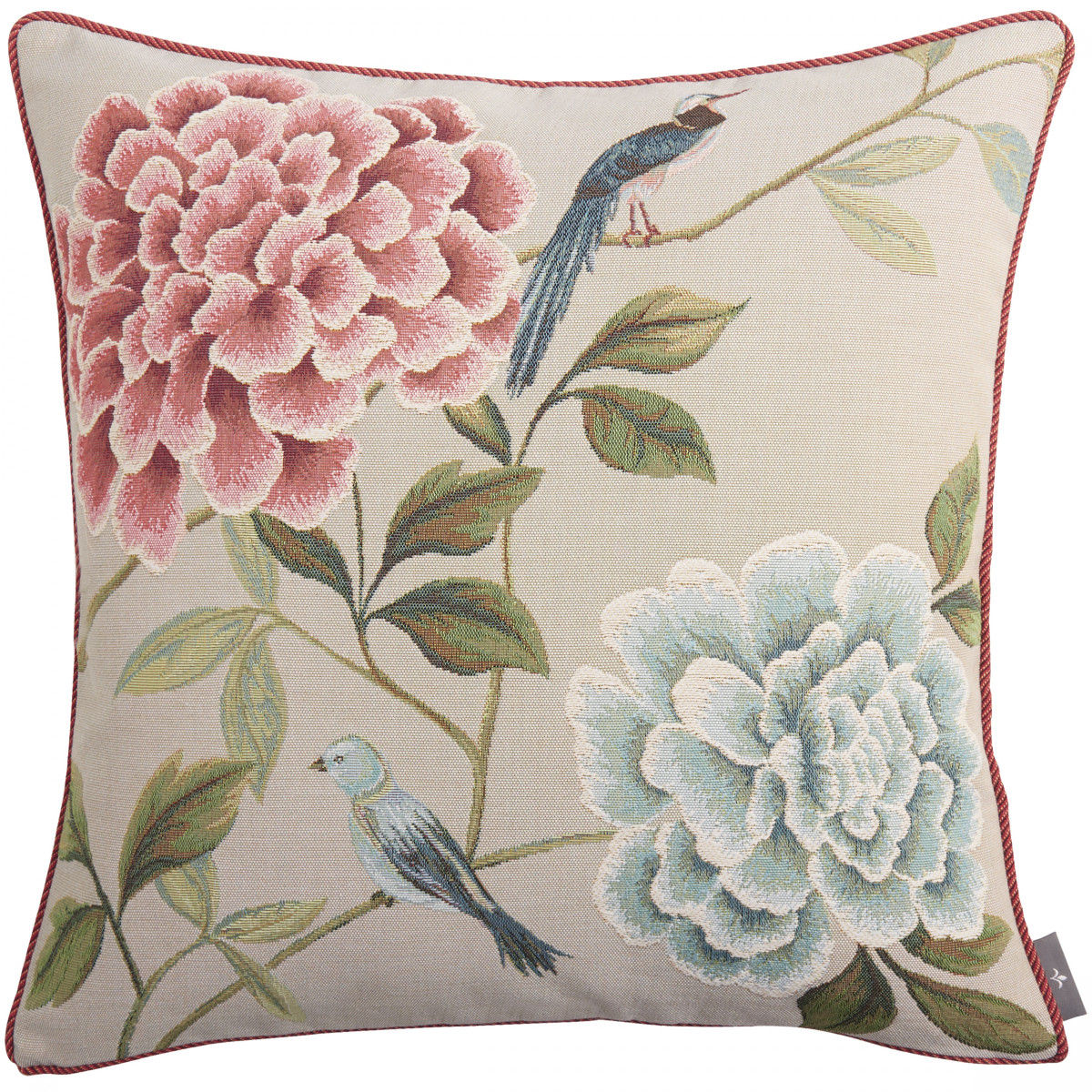 Coussin tapisserie fleurs oiseaux bleus made in france gris   50x50