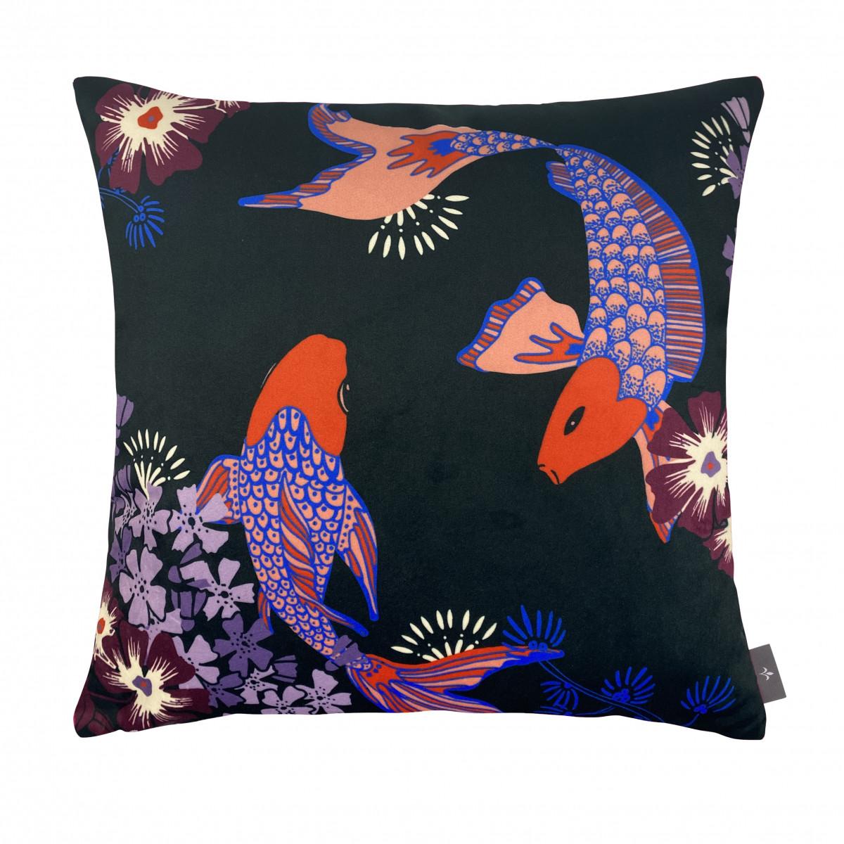 Coussin imprimé les poissons koï made in france violet 47x47