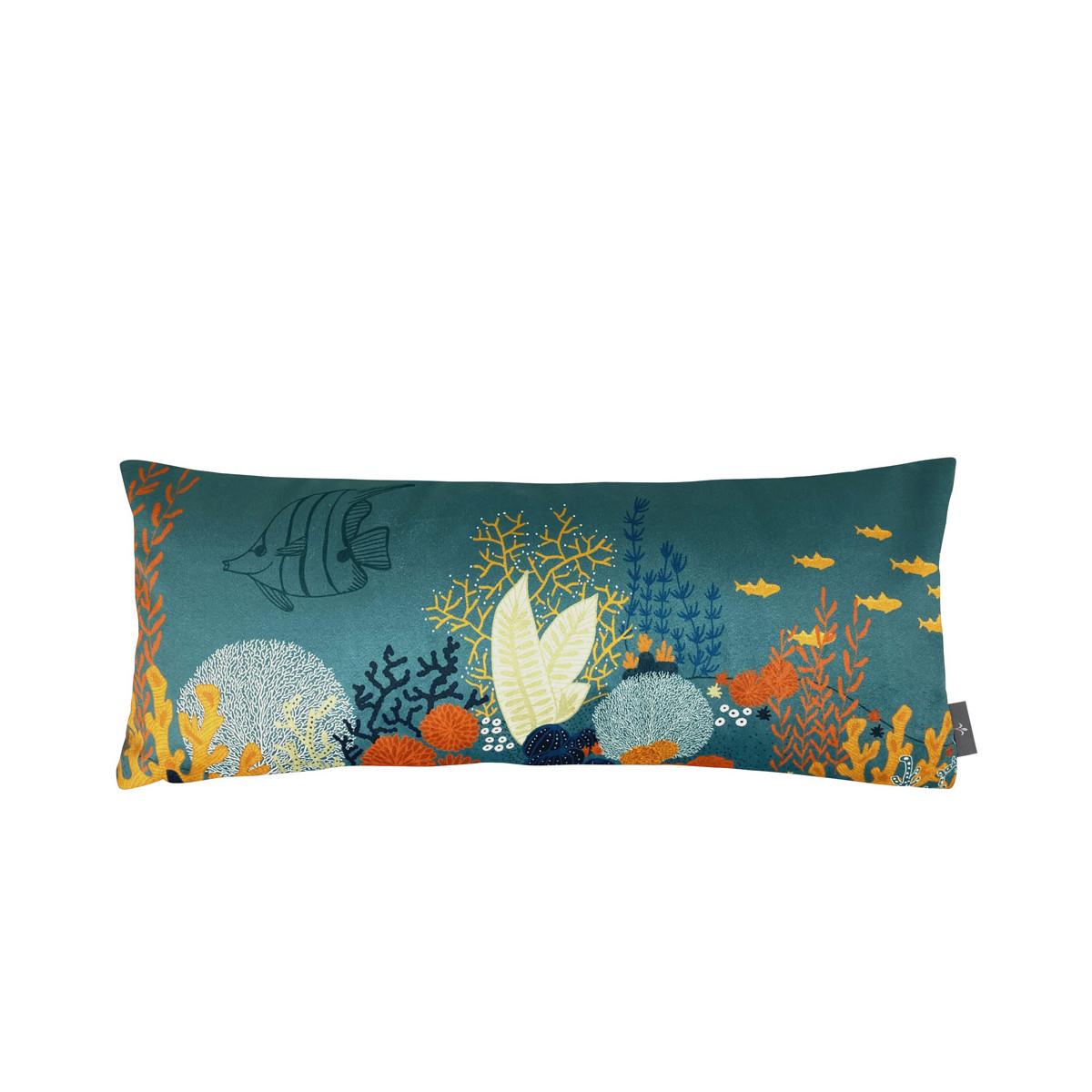 Coussin imprimé la jungle marine bleu 25x60