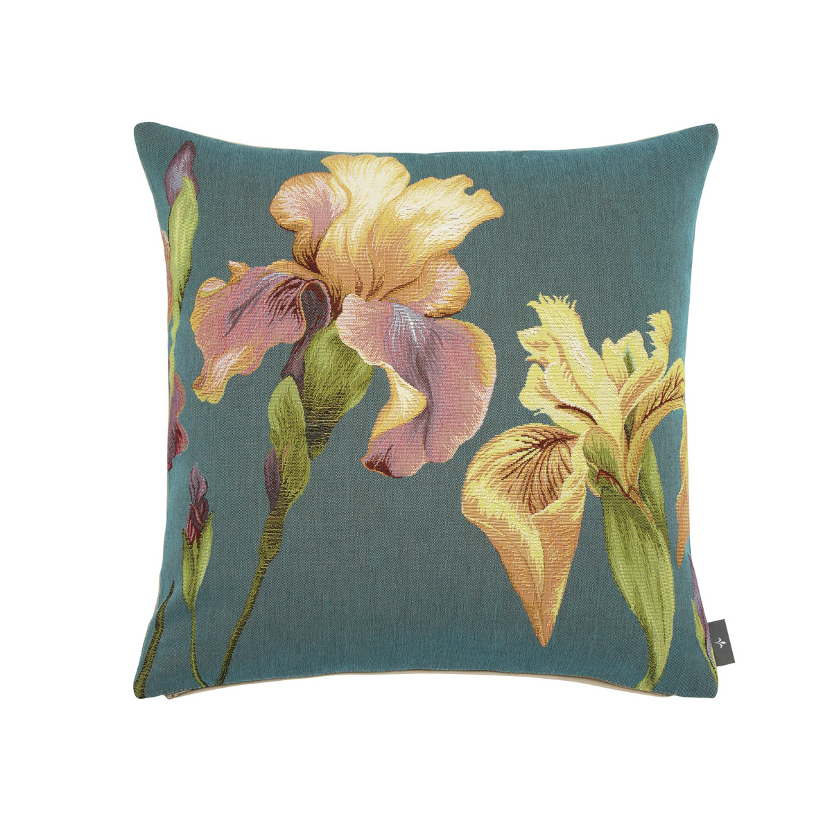 Coussin tapisserie giverny iris made in france bleu   50x50