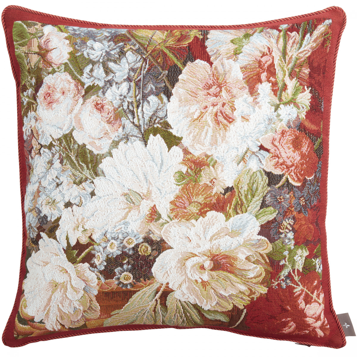 Coussin tapisserie bouquet classique made in france rouge   50x50