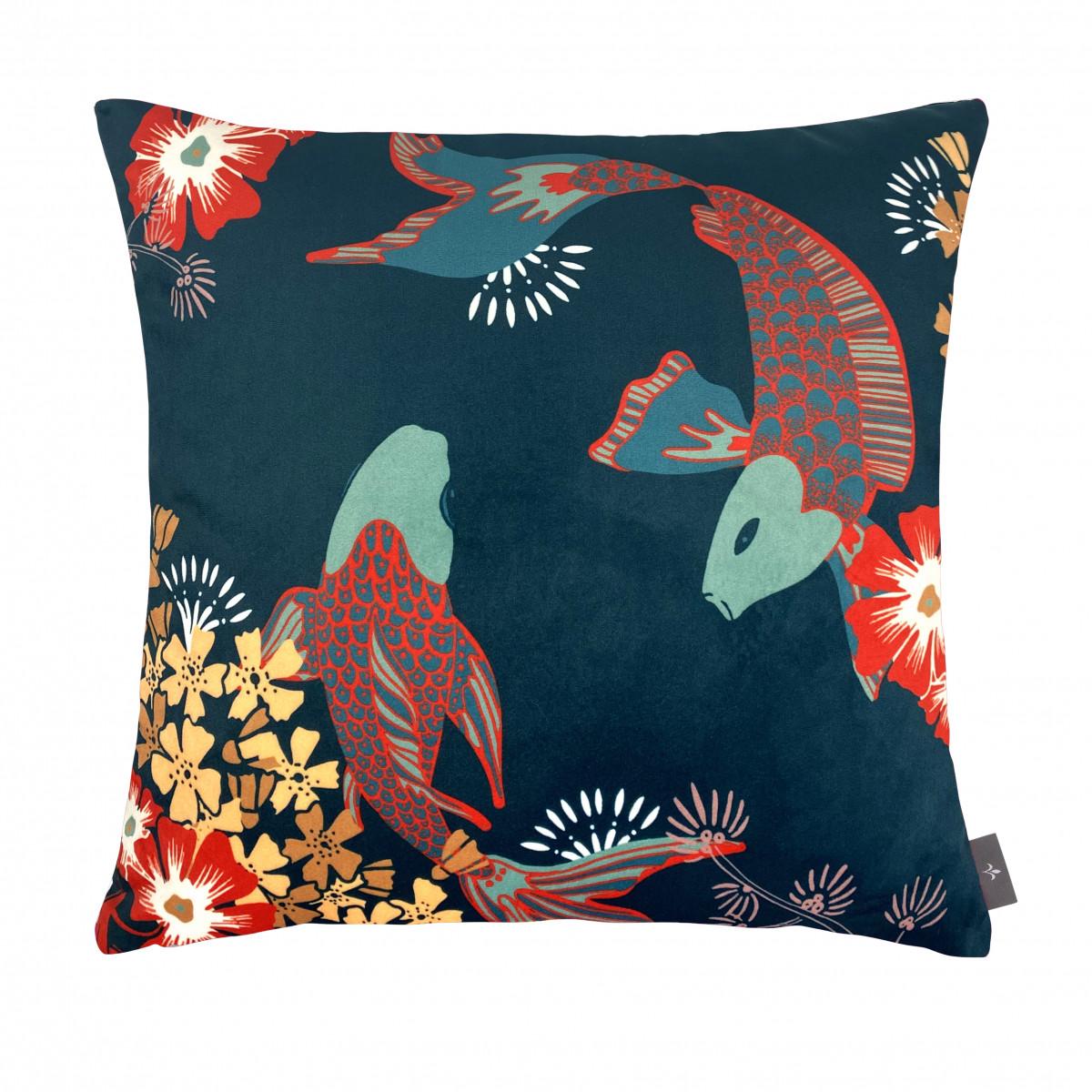 Coussin imprimé les poissons koï made in france bleu 47x47
