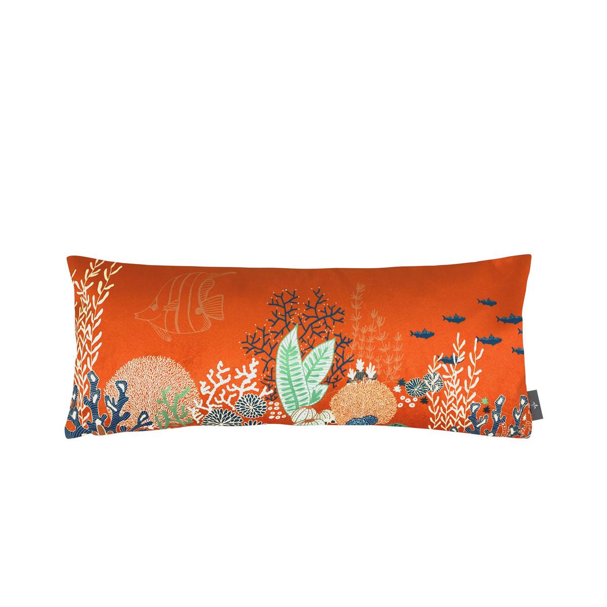 Coussin imprimé la jungle marine orange 25x60
