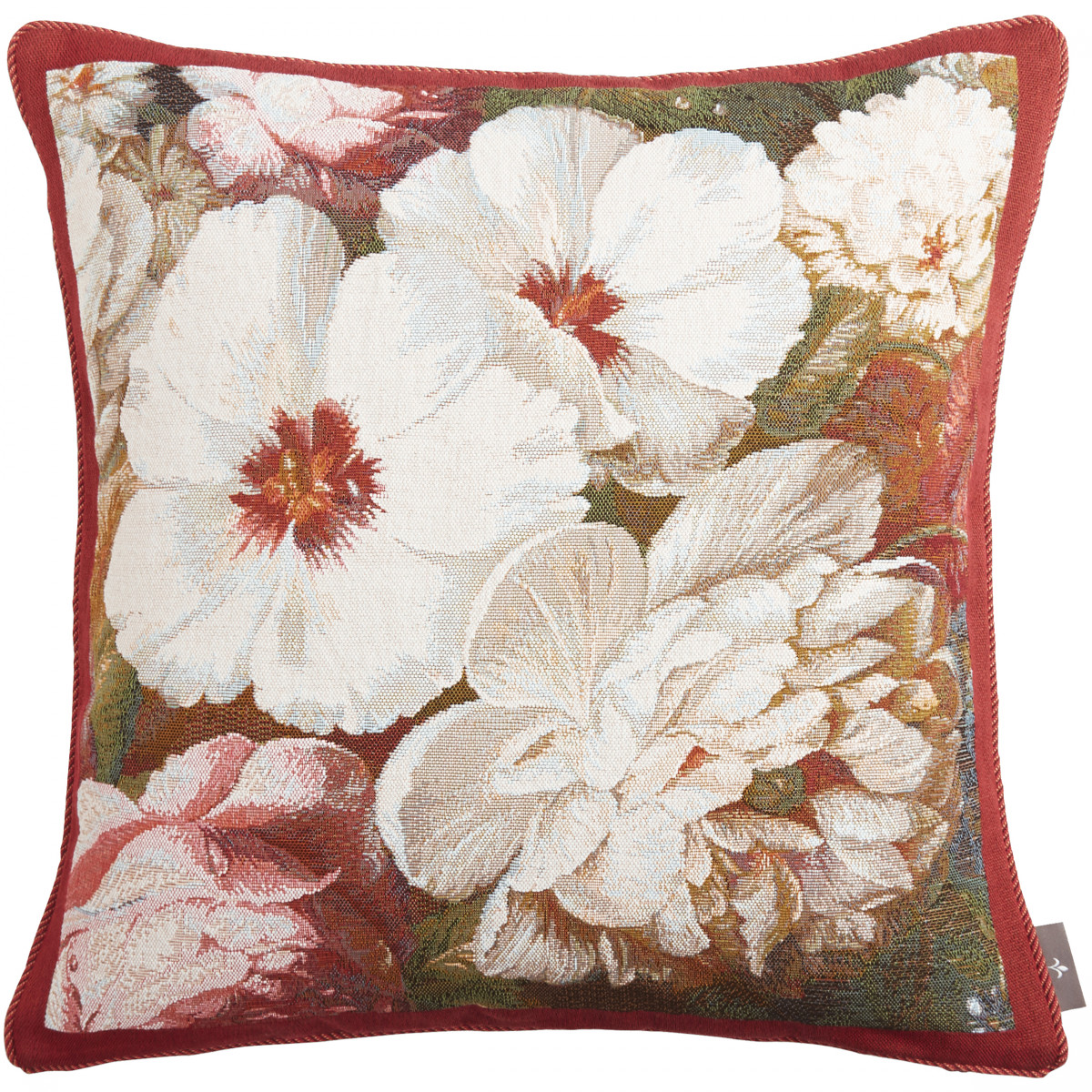 Coussin tapisserie hibiscus pivoine made in france rouge   50x50