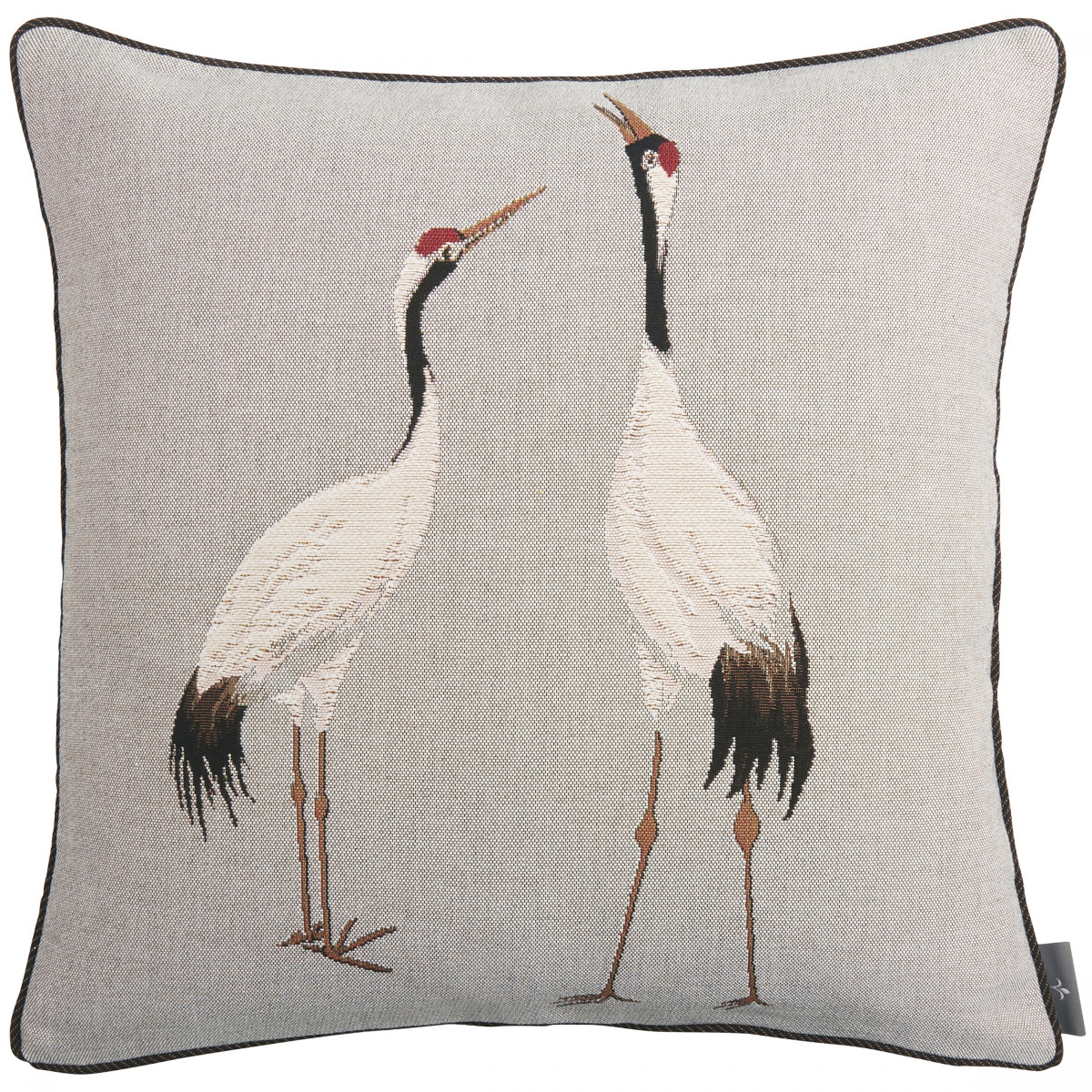 Coussin tapisserie deux grues blanches made in france gris   50x50