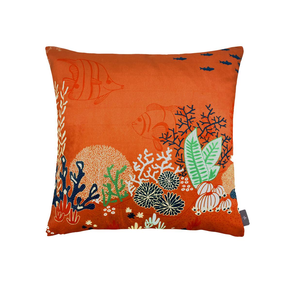 Coussin imprimé la jungle marine made in france orange 47x47