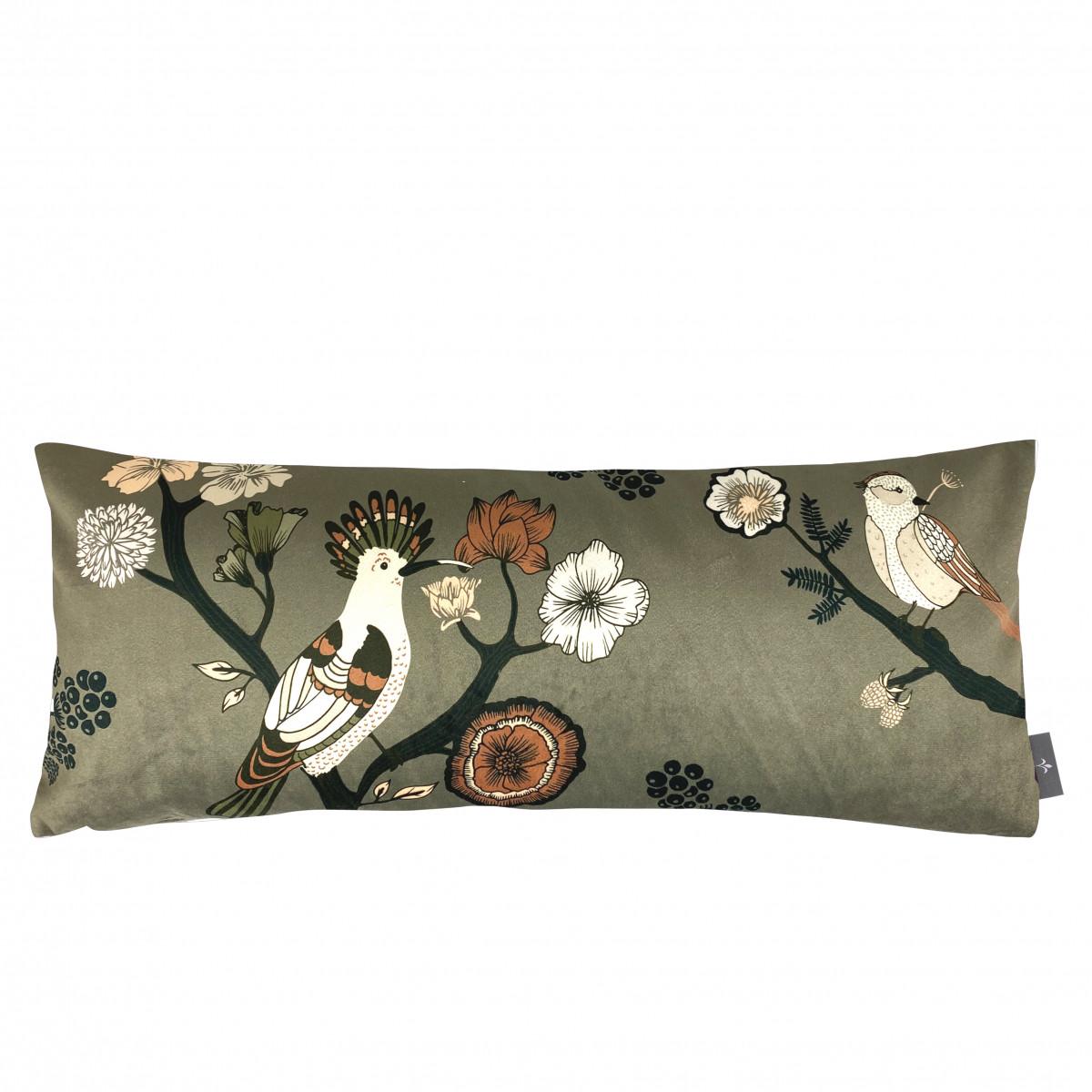 Coussin imprimé les oiseaux made in france vert 25x60