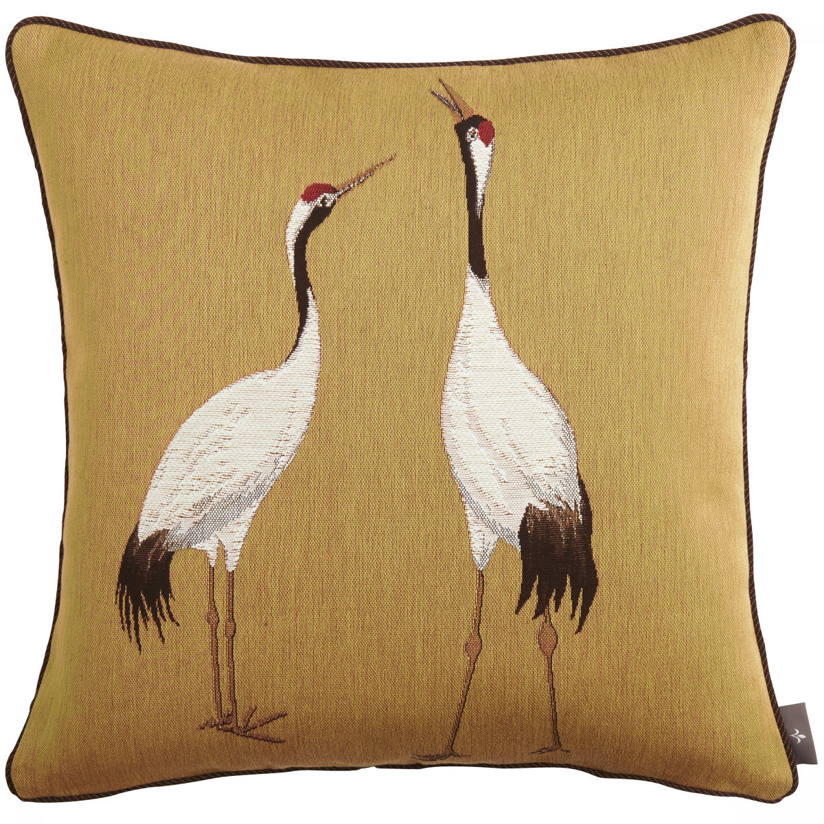 Coussin tapisserie deux grues blanches made in france jaune   50x50