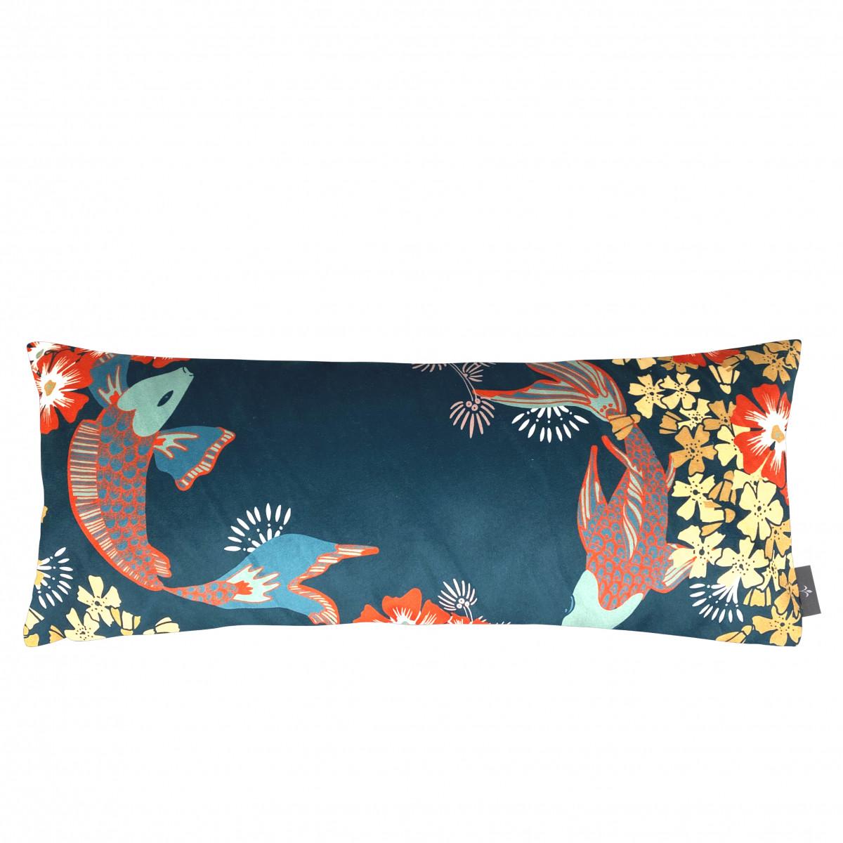 Coussin imprimé les poissons koï made in france bleu 25x60