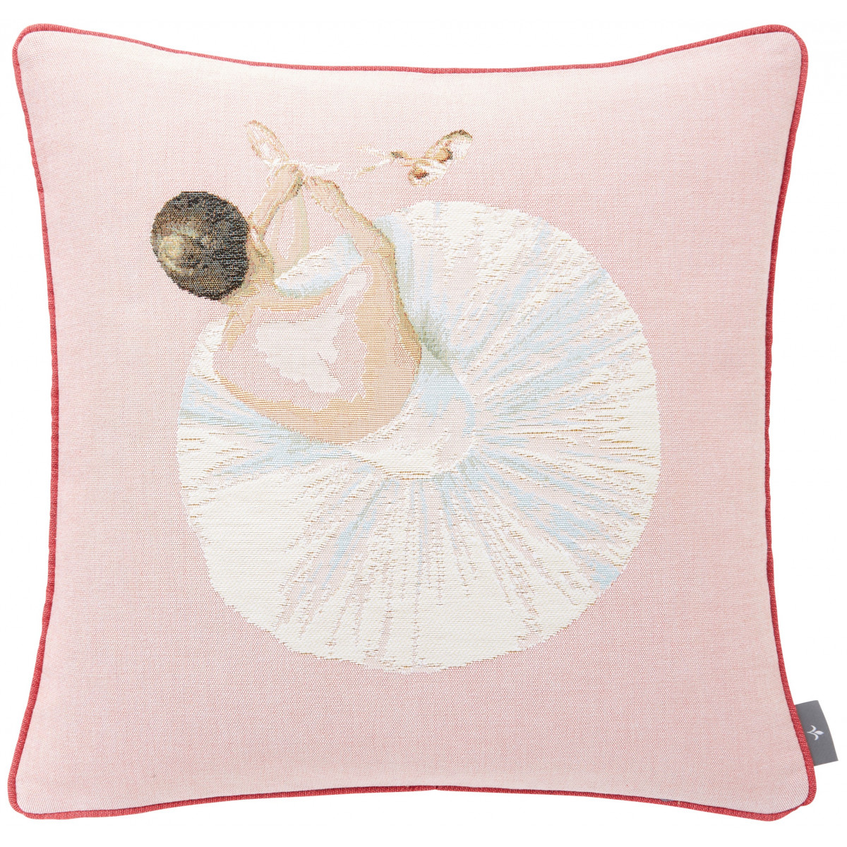 Coussin tapisserie danseuse pointe made in france rose   50x50