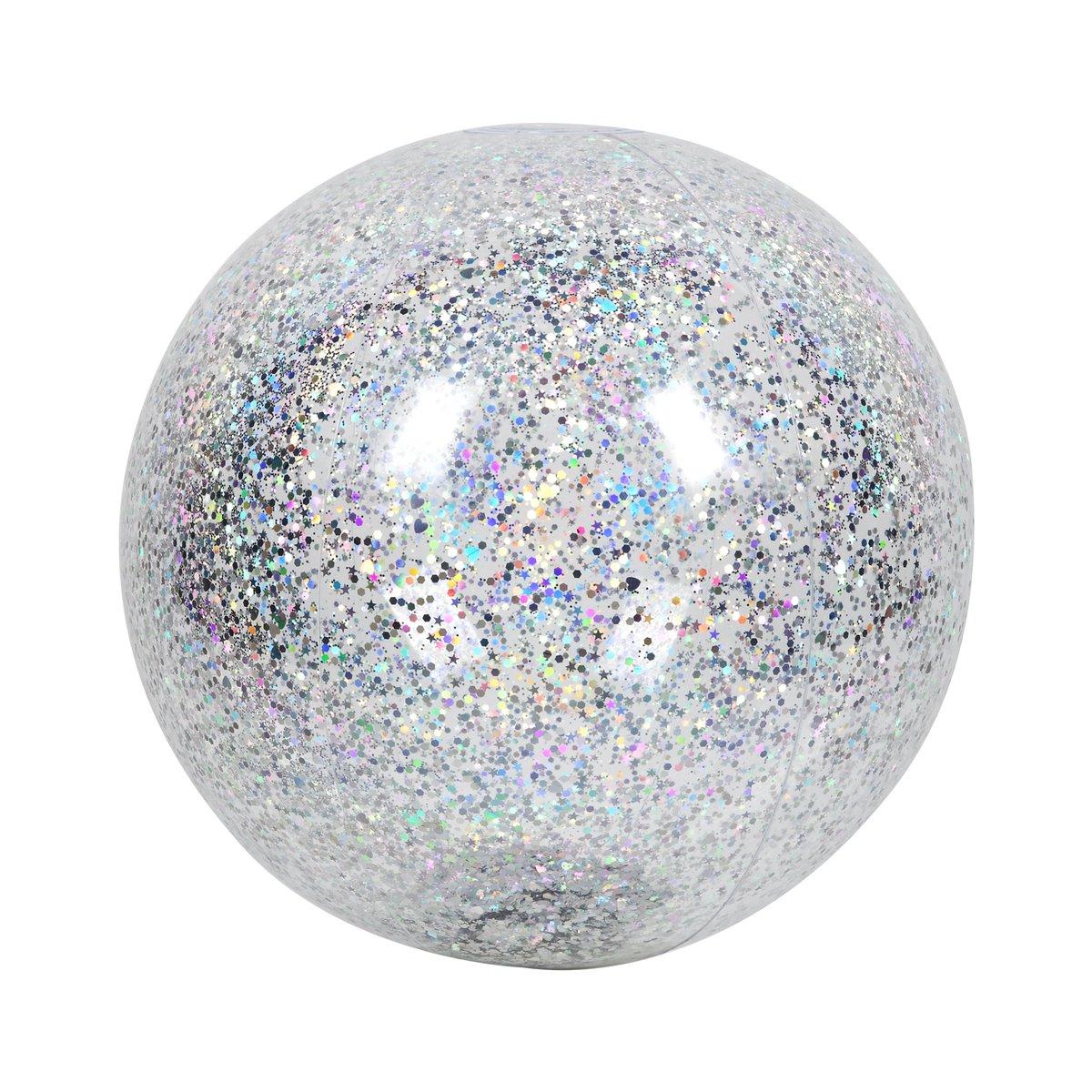 Ballon de plage gonflable transparent à paillettes