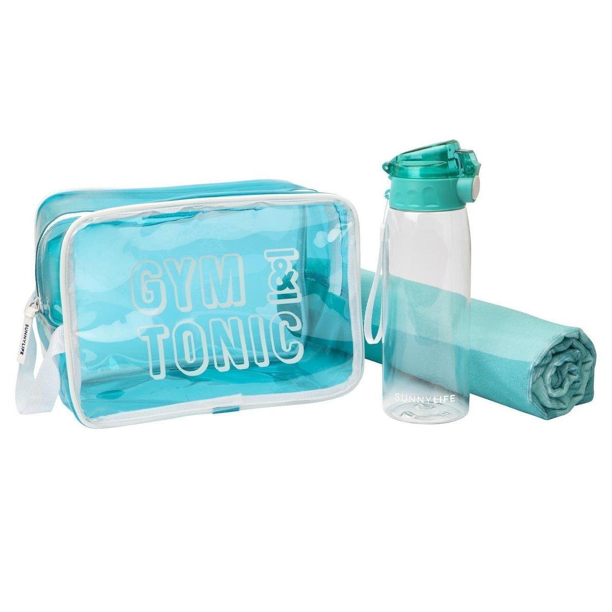 Trousse de sport bleu avec bouteille 900 ml et serviette microfibre