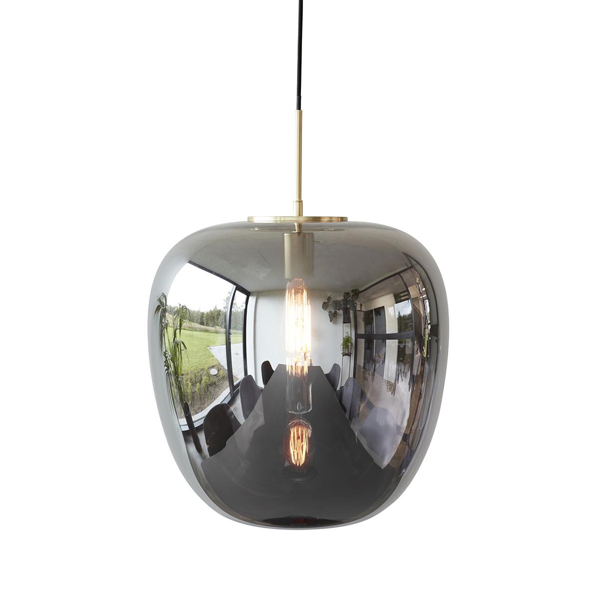 Lampe suspension en verre miroir et laiton