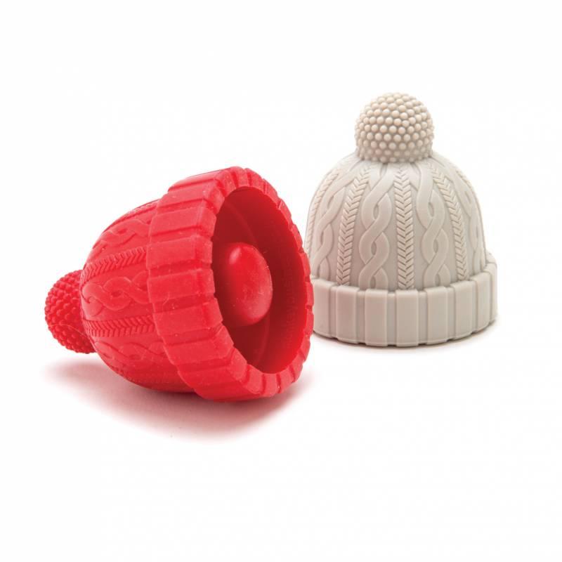 Bouchons de bouteille bonnets gris et rouge