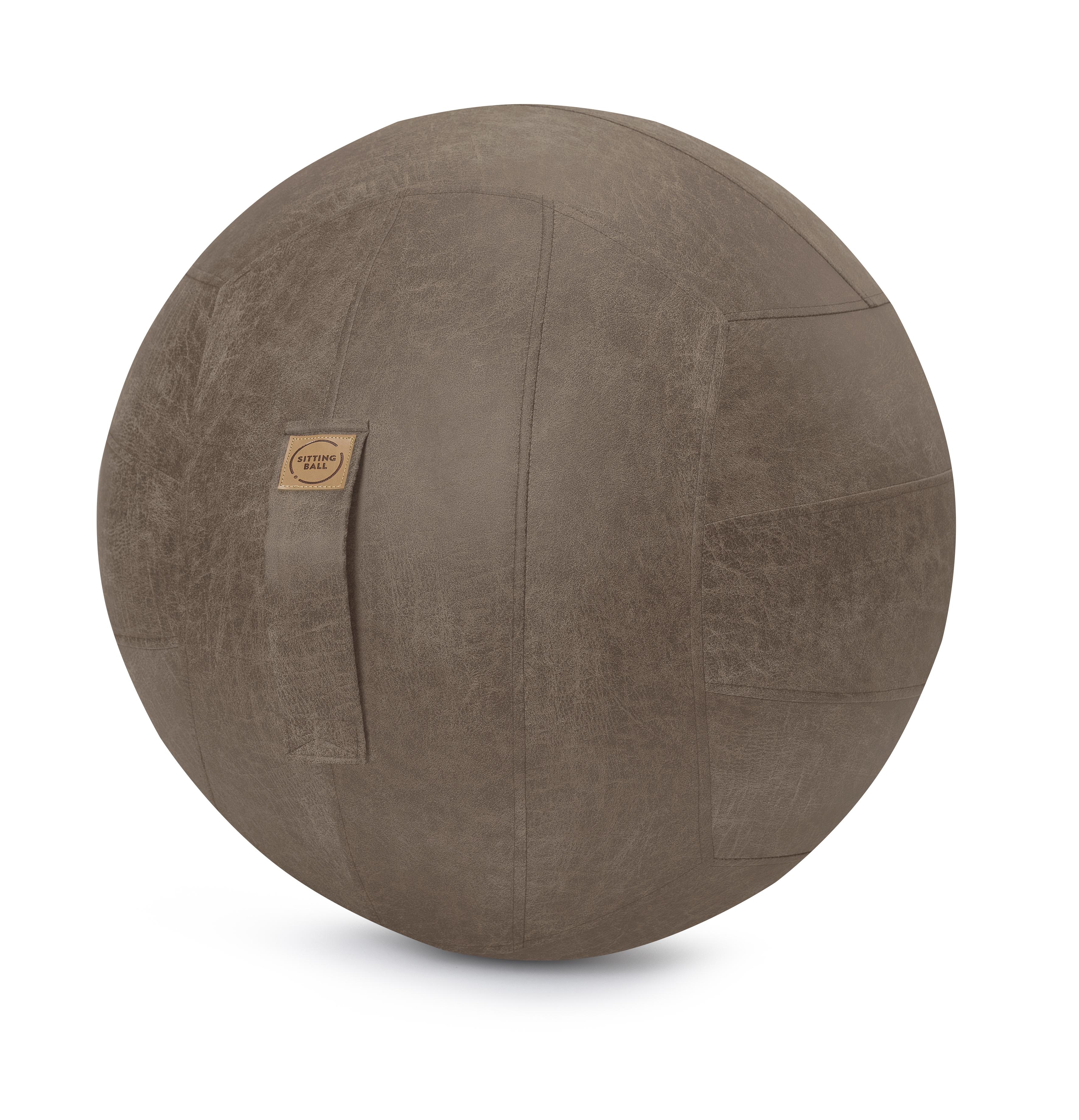 Balle d'assise design simili cuir marron avec poignée D65