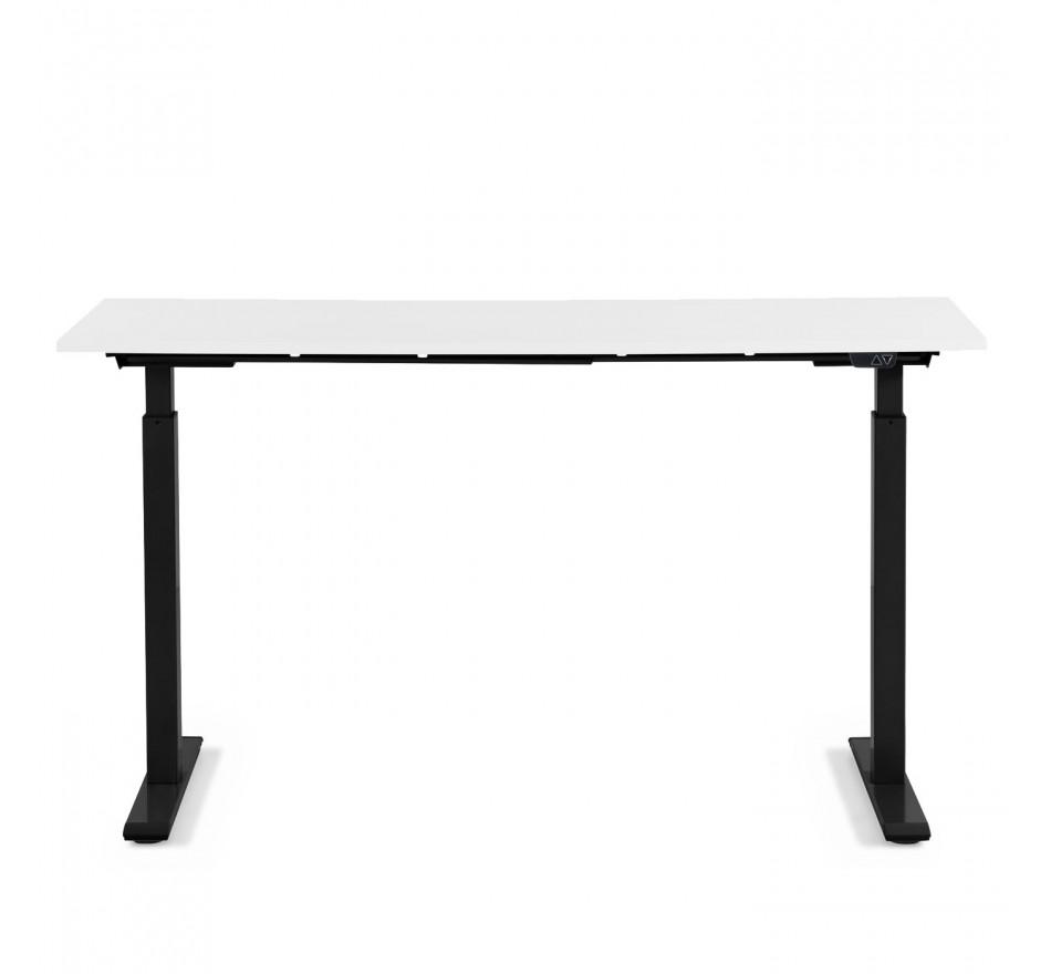 Bureau réglable assis-debout blanc et acier noir L160
