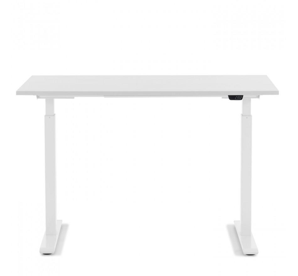 Bureau réglable assis-debout blanc et acier blanc L140
