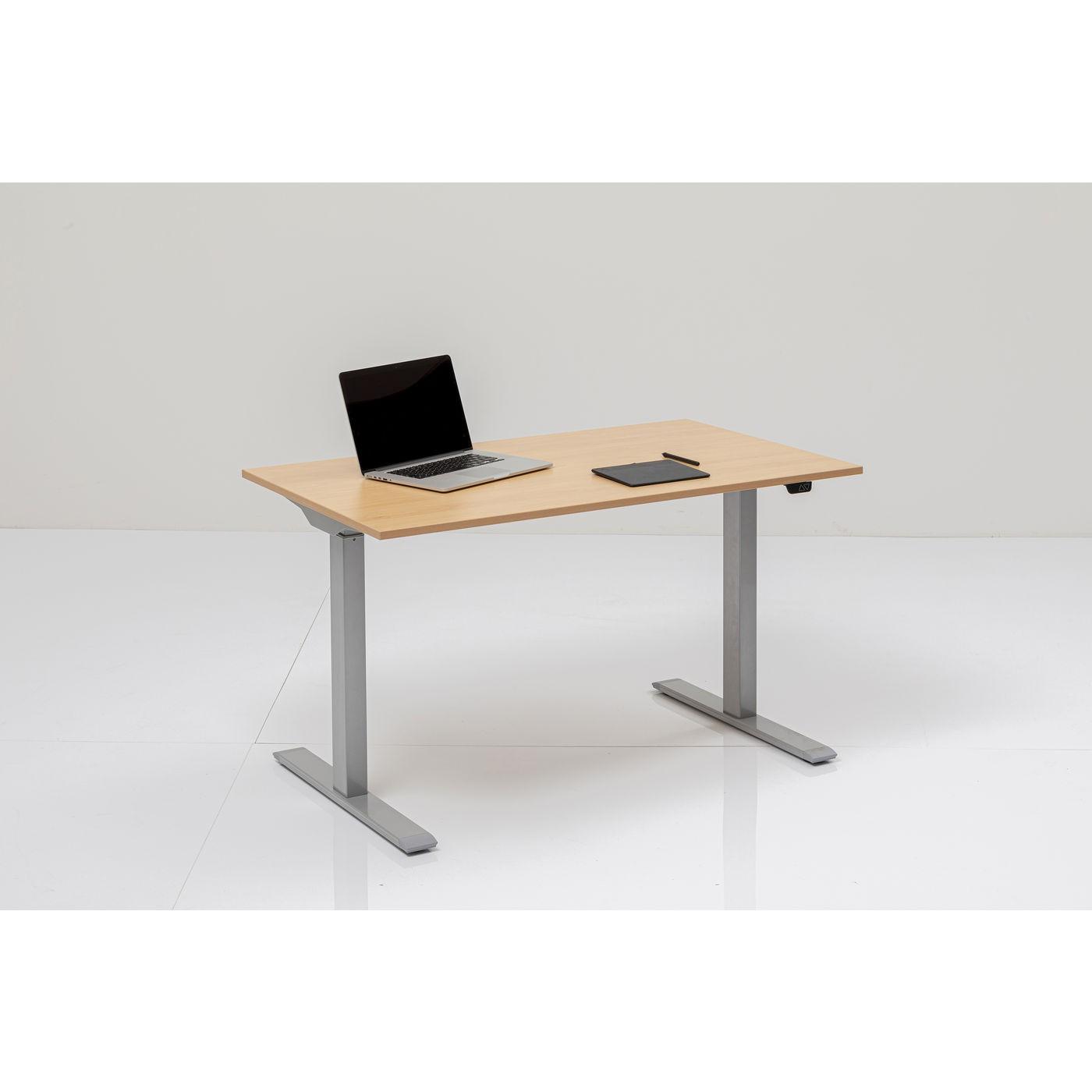 Bureau réglable assis-debout beige et acier chromé L160