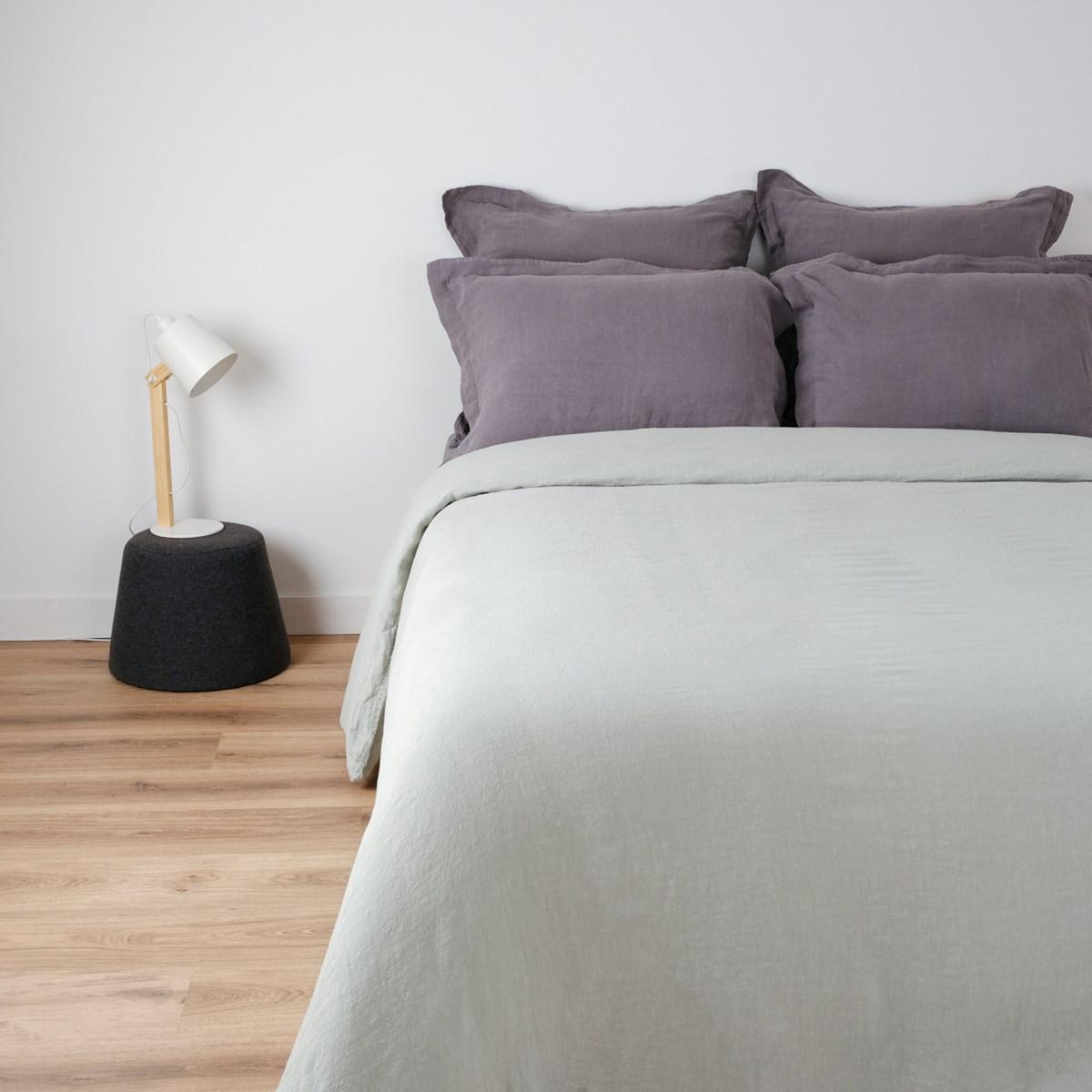 Housse de couette naturelle en lin gris clair 240x260 cm