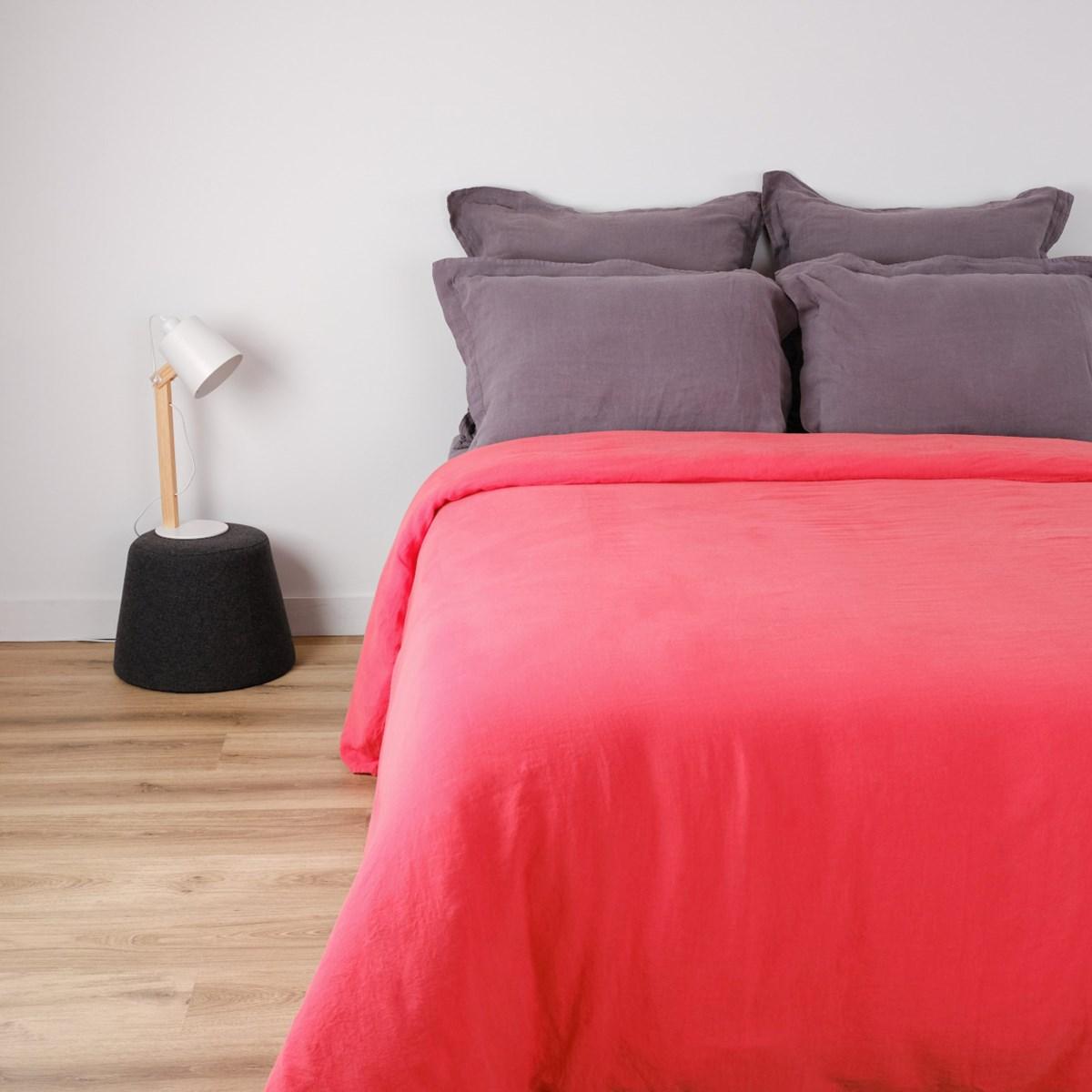 Housse de couette naturelle en lin rouge 160x200 cm