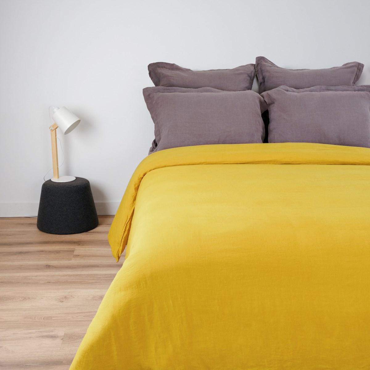 Housse de couette naturelle en lin jaune clair 160x200 cm