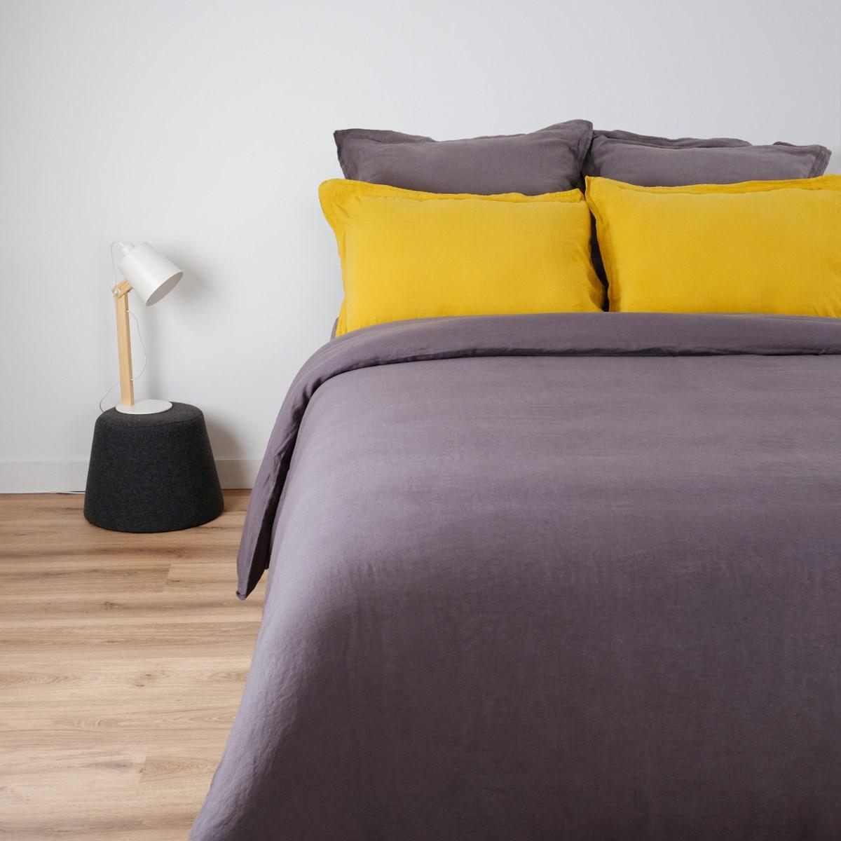 Housse de couette naturelle en lin gris foncé 240x260 cm